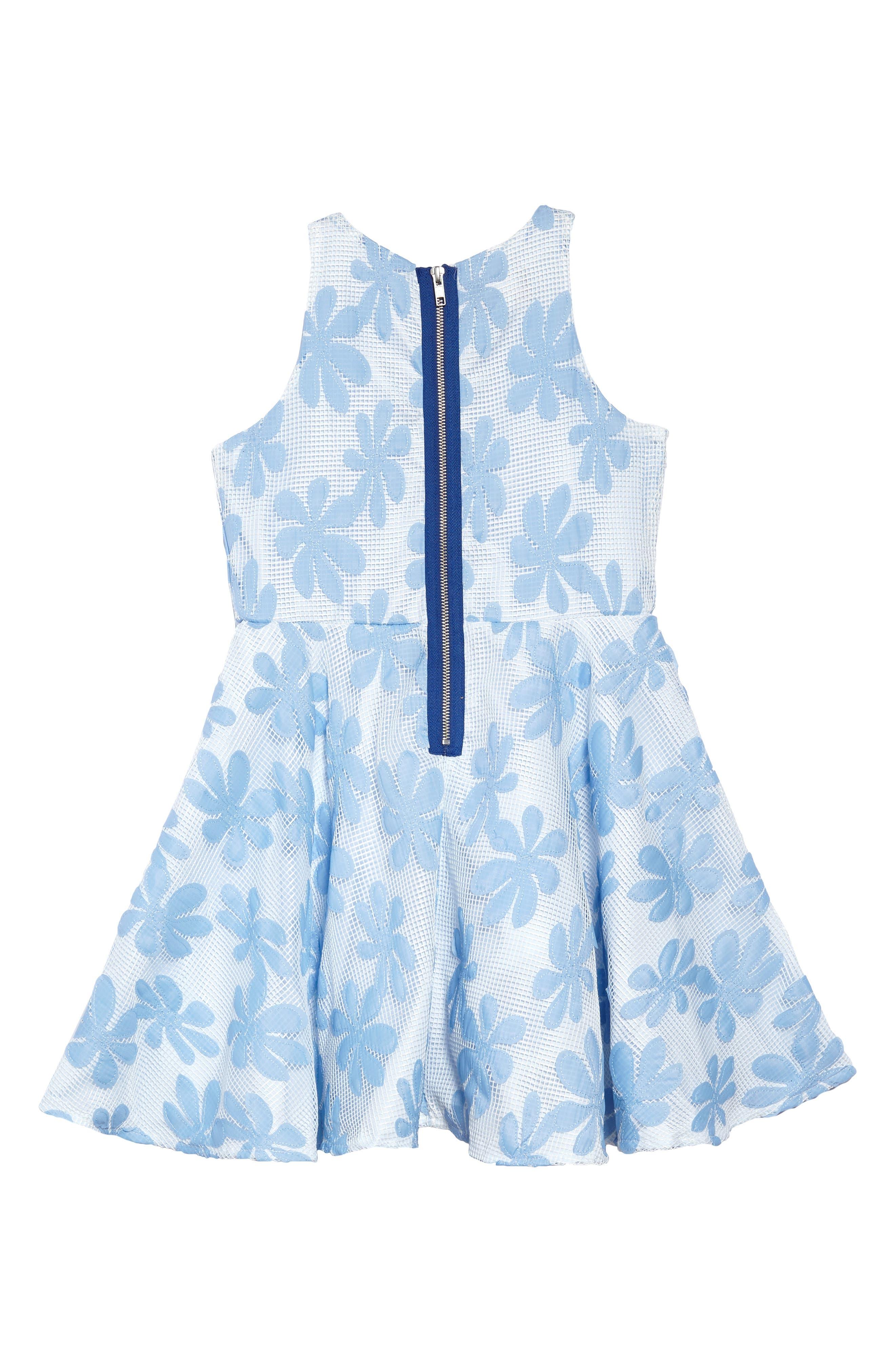 Daisy Appliqué Mesh Dress,                             Alternate thumbnail 2, color,                             White/ Blue