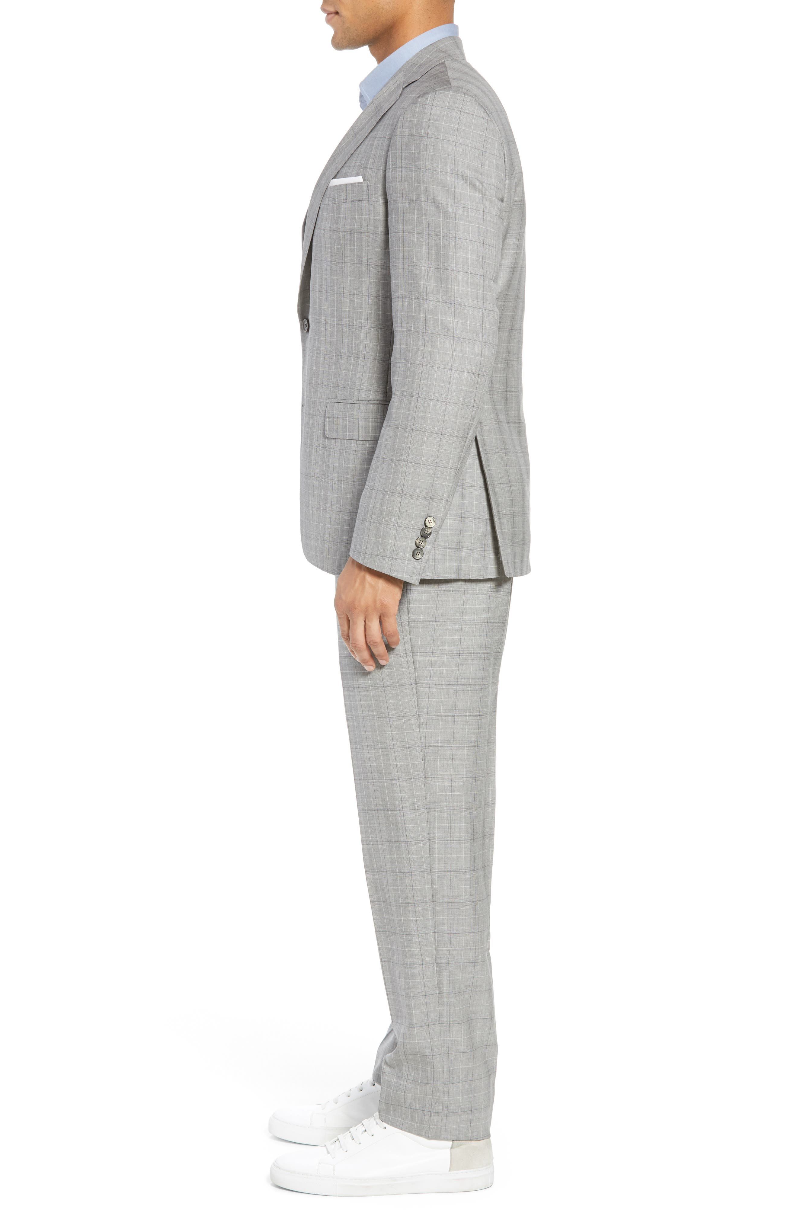 Classic Fit Plaid Wool & Silk Suit,                             Alternate thumbnail 3, color,                             Grey