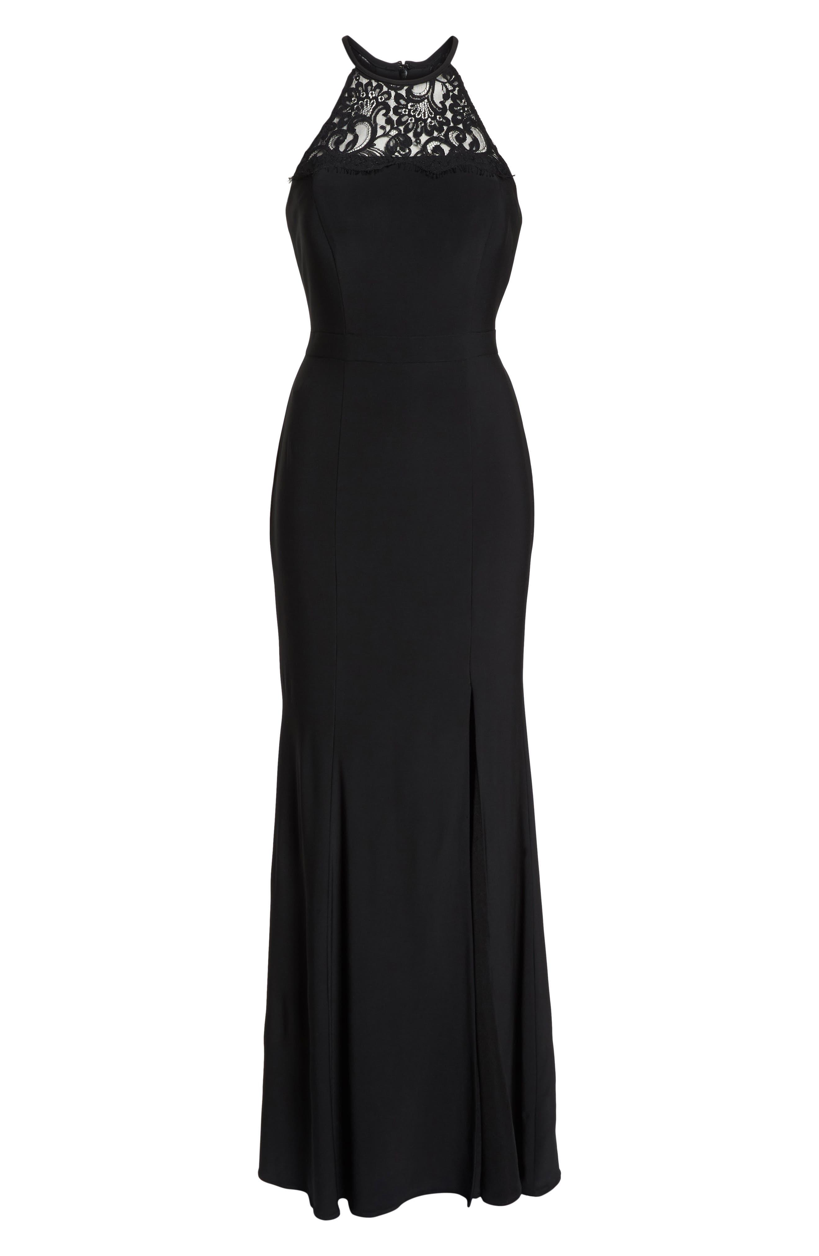 Lace Neck Halter Gown,                             Alternate thumbnail 6, color,                             Black