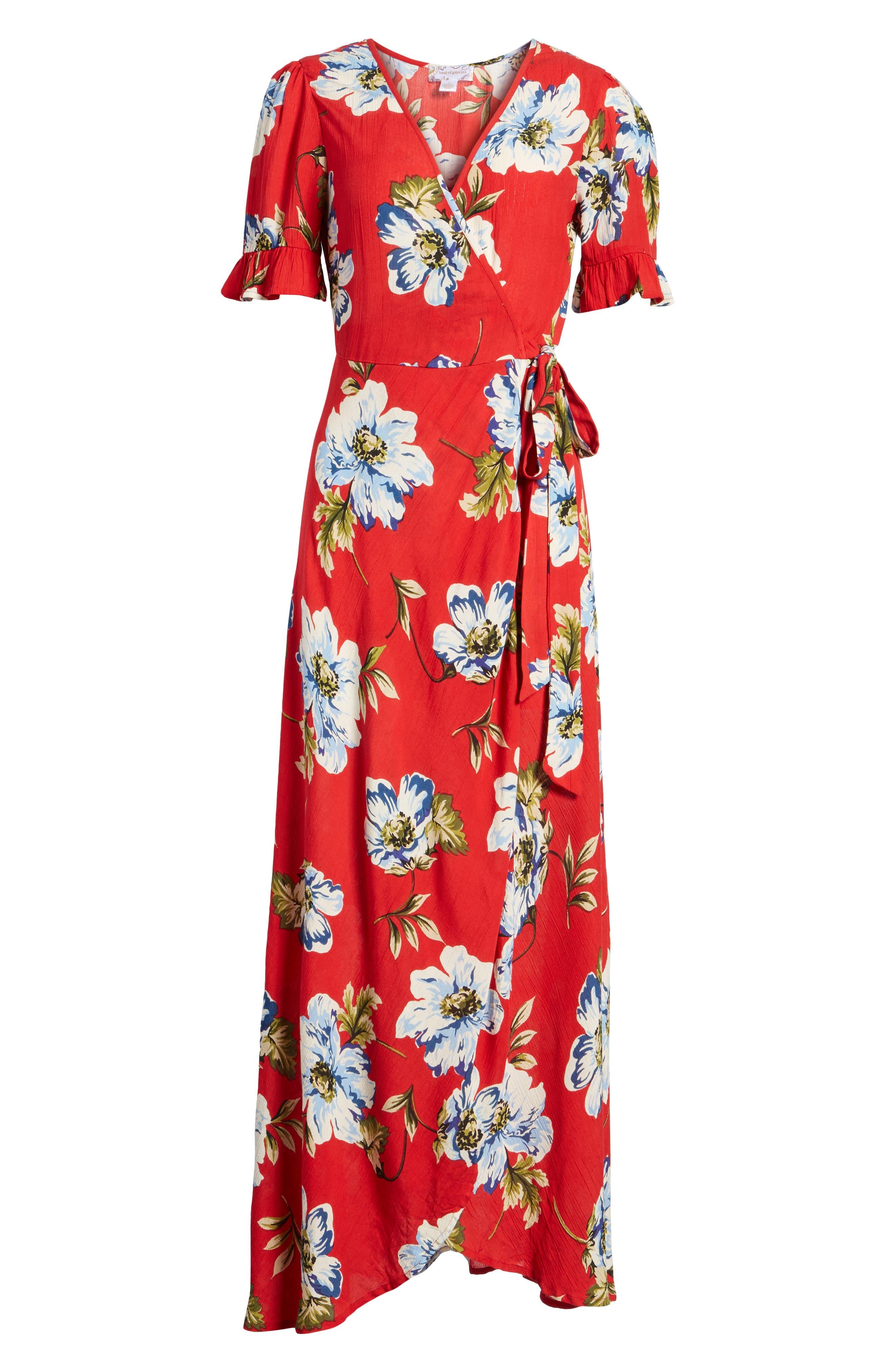 Blue Moon Floral Print Wrap Dress,                             Alternate thumbnail 7, color,                             Red/ Sky
