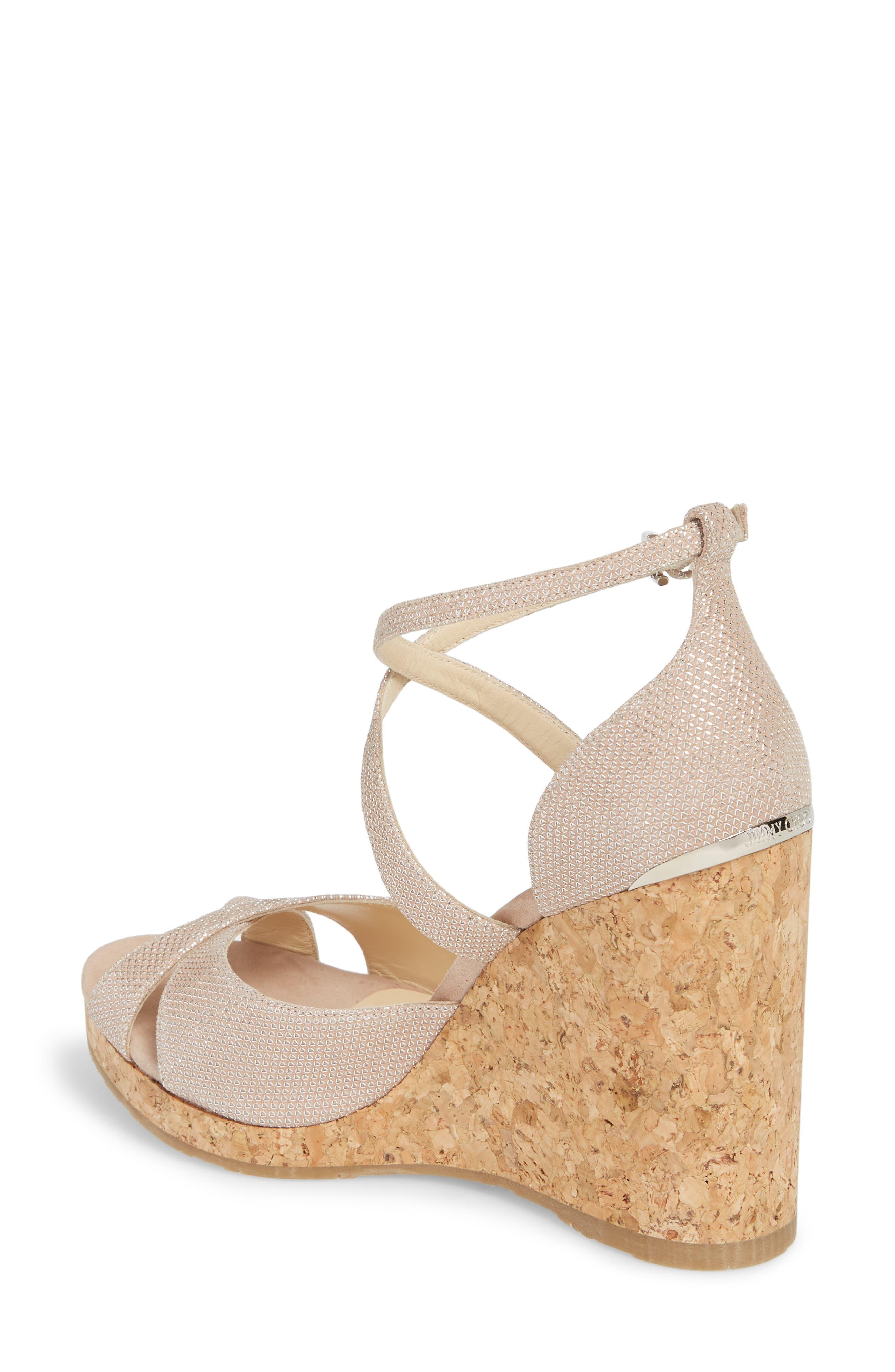 Alanah Espadrille Wedge Sandal,                             Alternate thumbnail 2, color,                             Ballet Pink Glitter