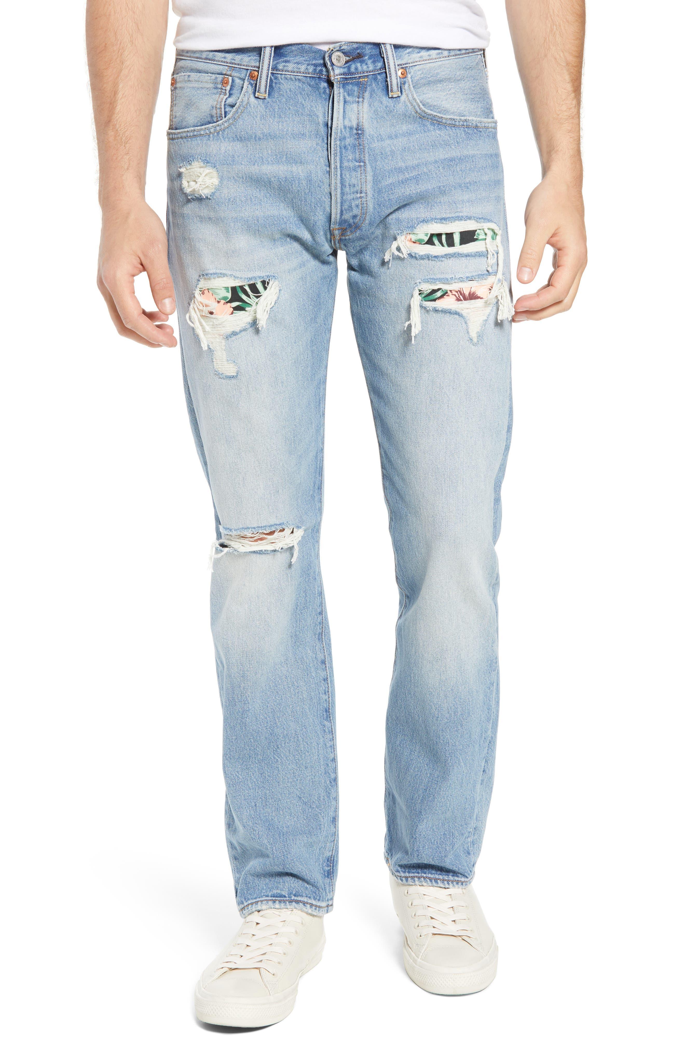 501<sup>®</sup> Original Straight Leg Jeans,                         Main,                         color, Pieced Hawaiian Indigo
