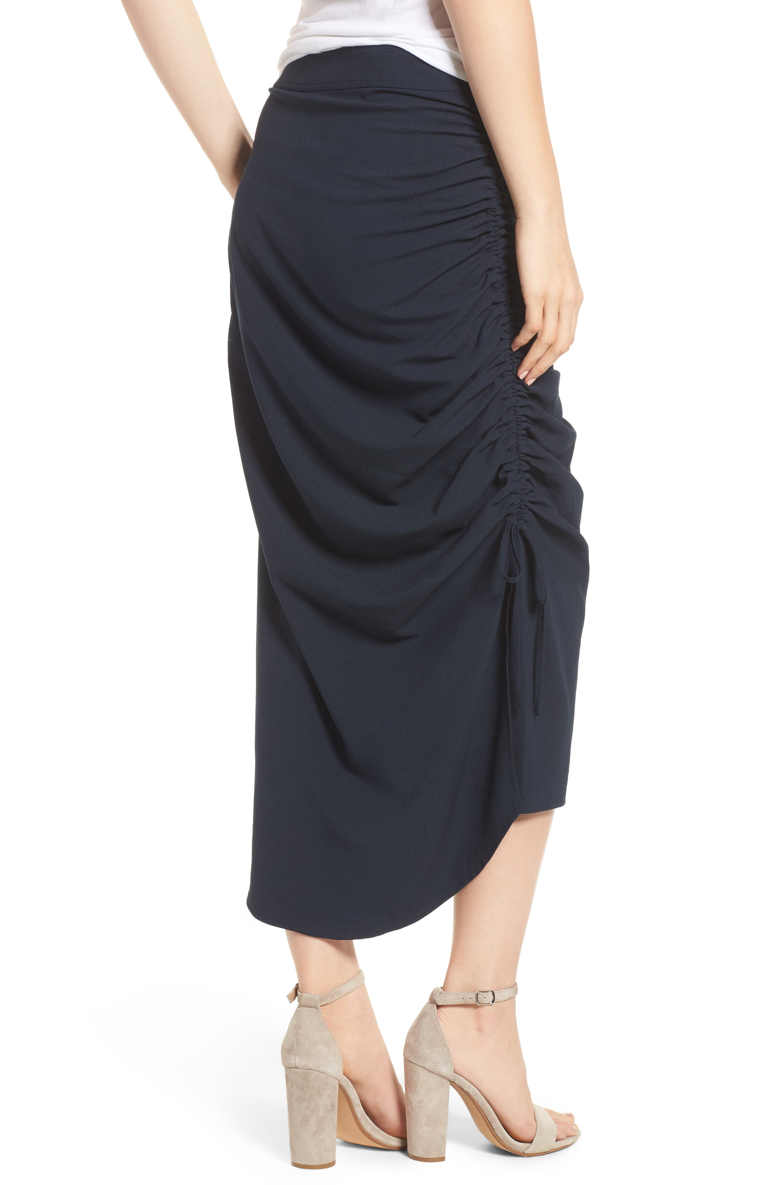 Side Shirred Skirt,                             Alternate thumbnail 2, color,                             Navy Sapphire