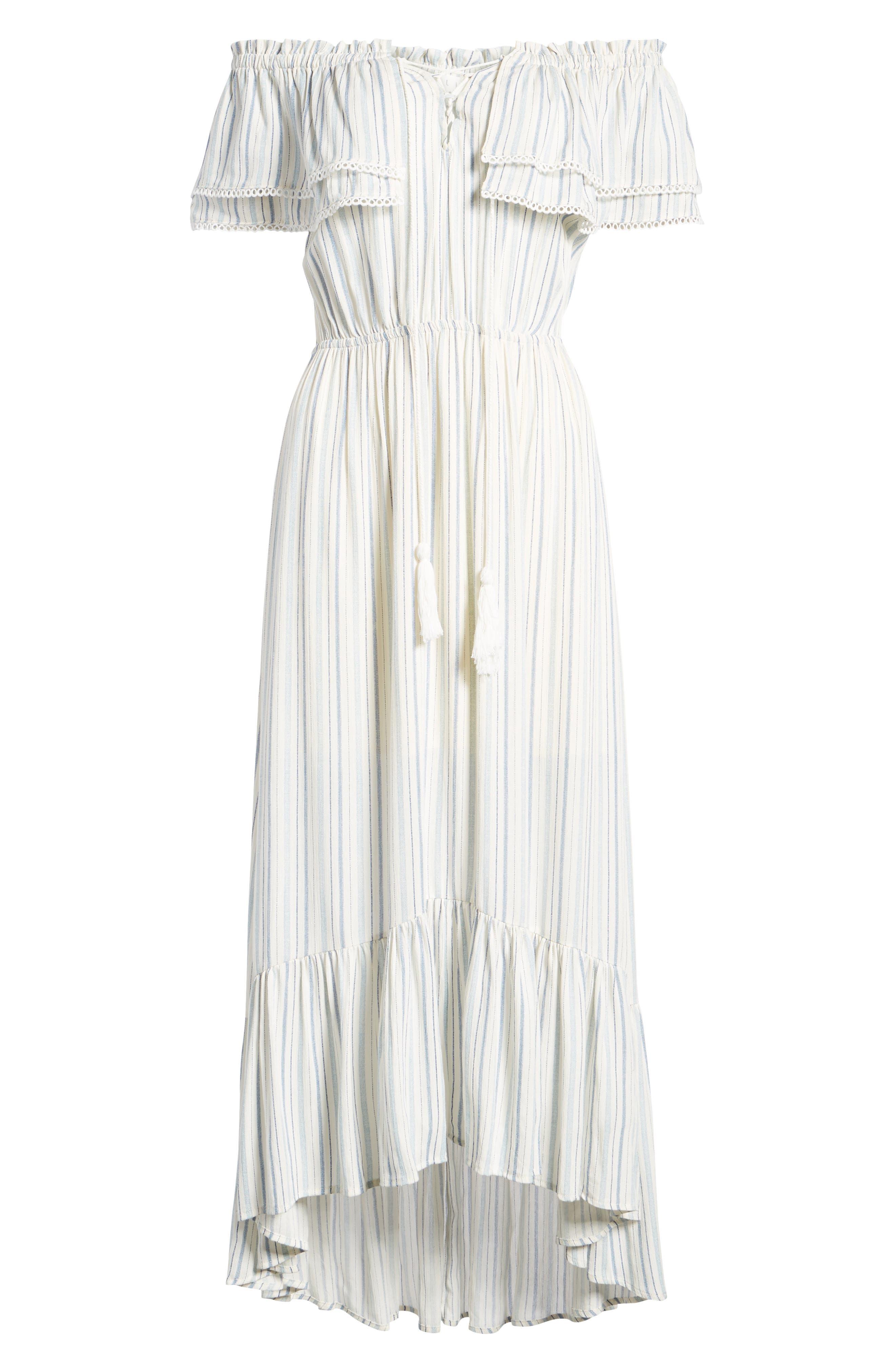 Kiara Off the Shoulder Maxi Dress,                             Alternate thumbnail 8, color,                             Light Blue