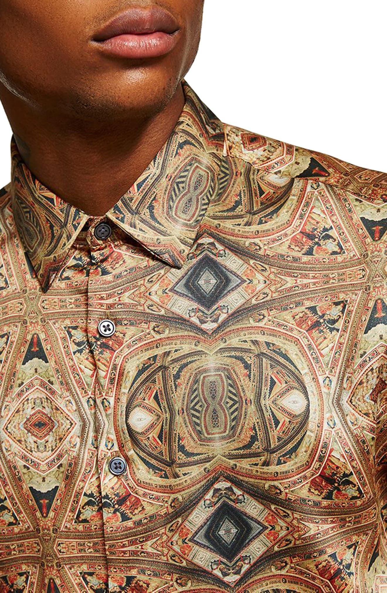 Print Shirt,                             Alternate thumbnail 2, color,                             Brown Multi