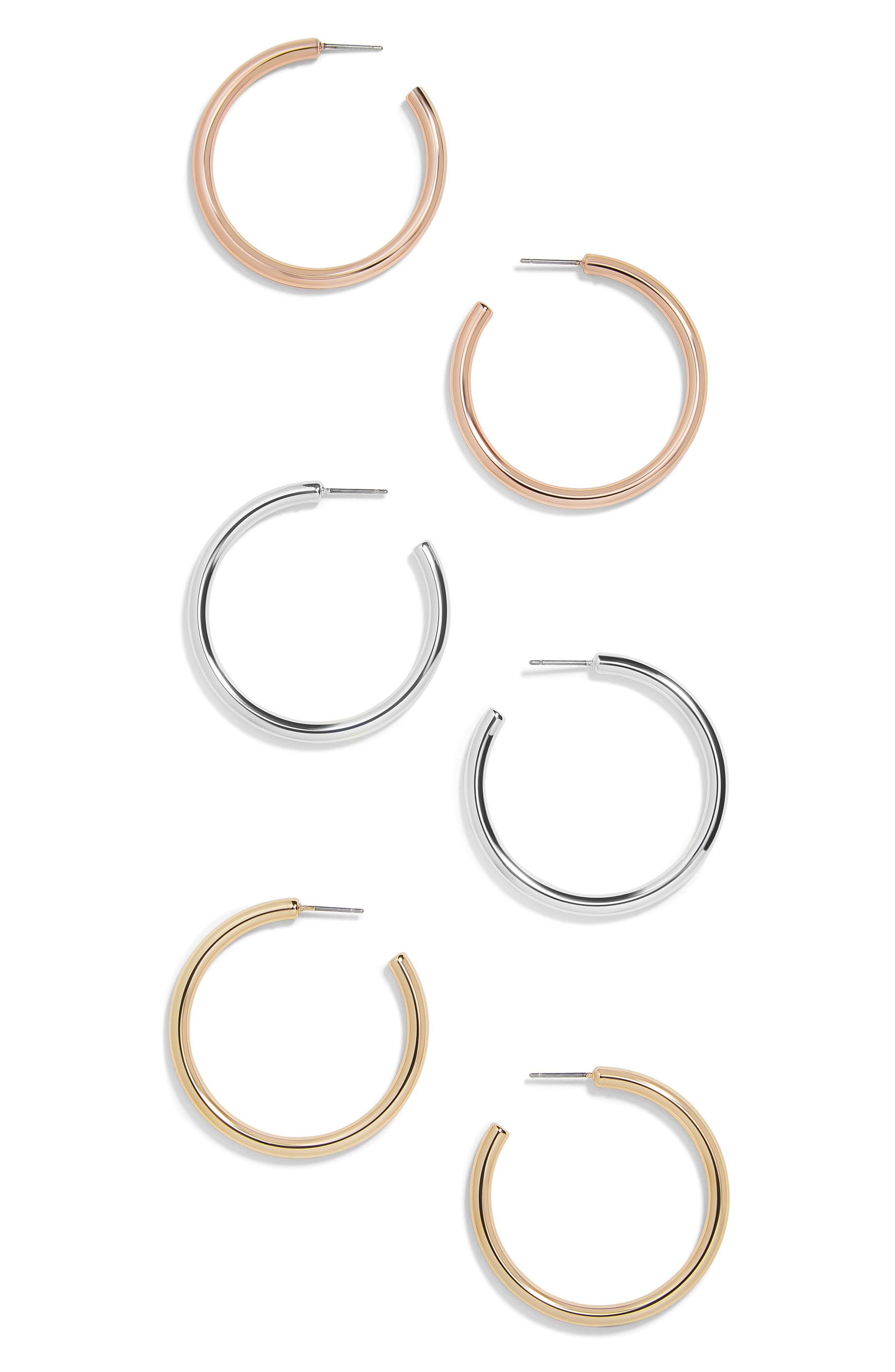 Jordan Set of 3 Hoop Earrings,                         Main,                         color, Multi