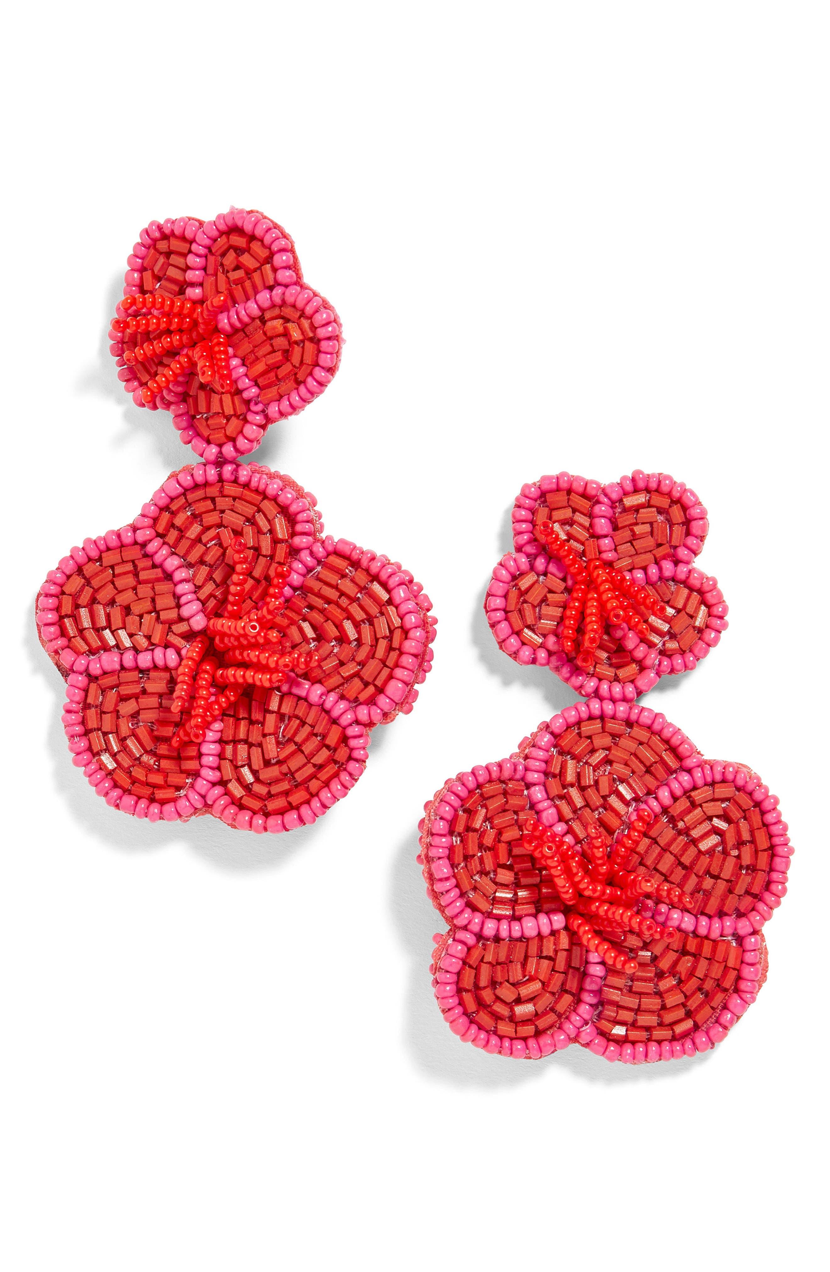 Rosa Flower Drop Earrings,                         Main,                         color, Red