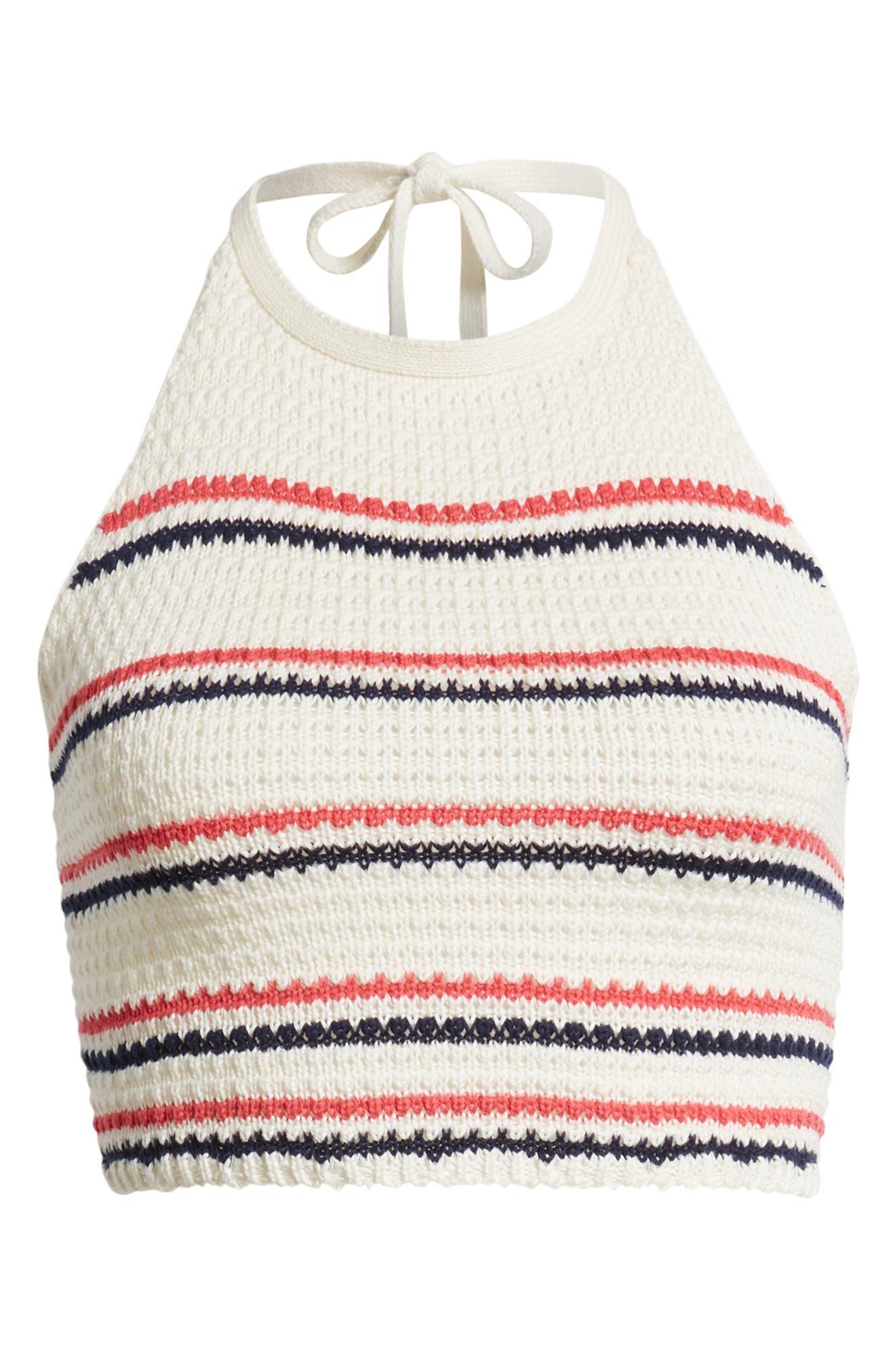 Stripe Halter Sweater Tank,                             Alternate thumbnail 7, color,                             Ivory/ Navy/ Pink Stripe