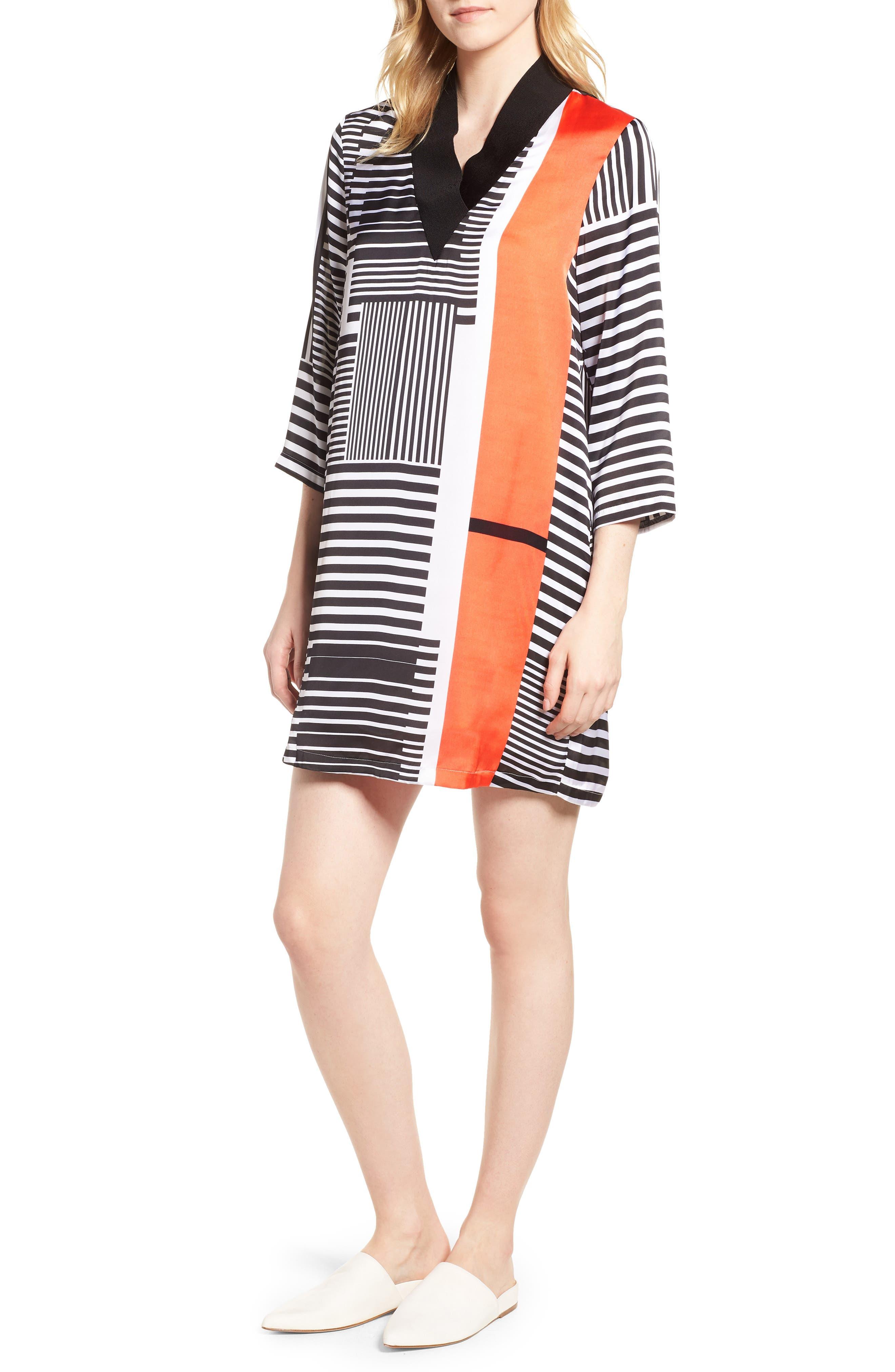 Mix Stripe V-Neck Shift Dress,                         Main,                         color, Pop Red