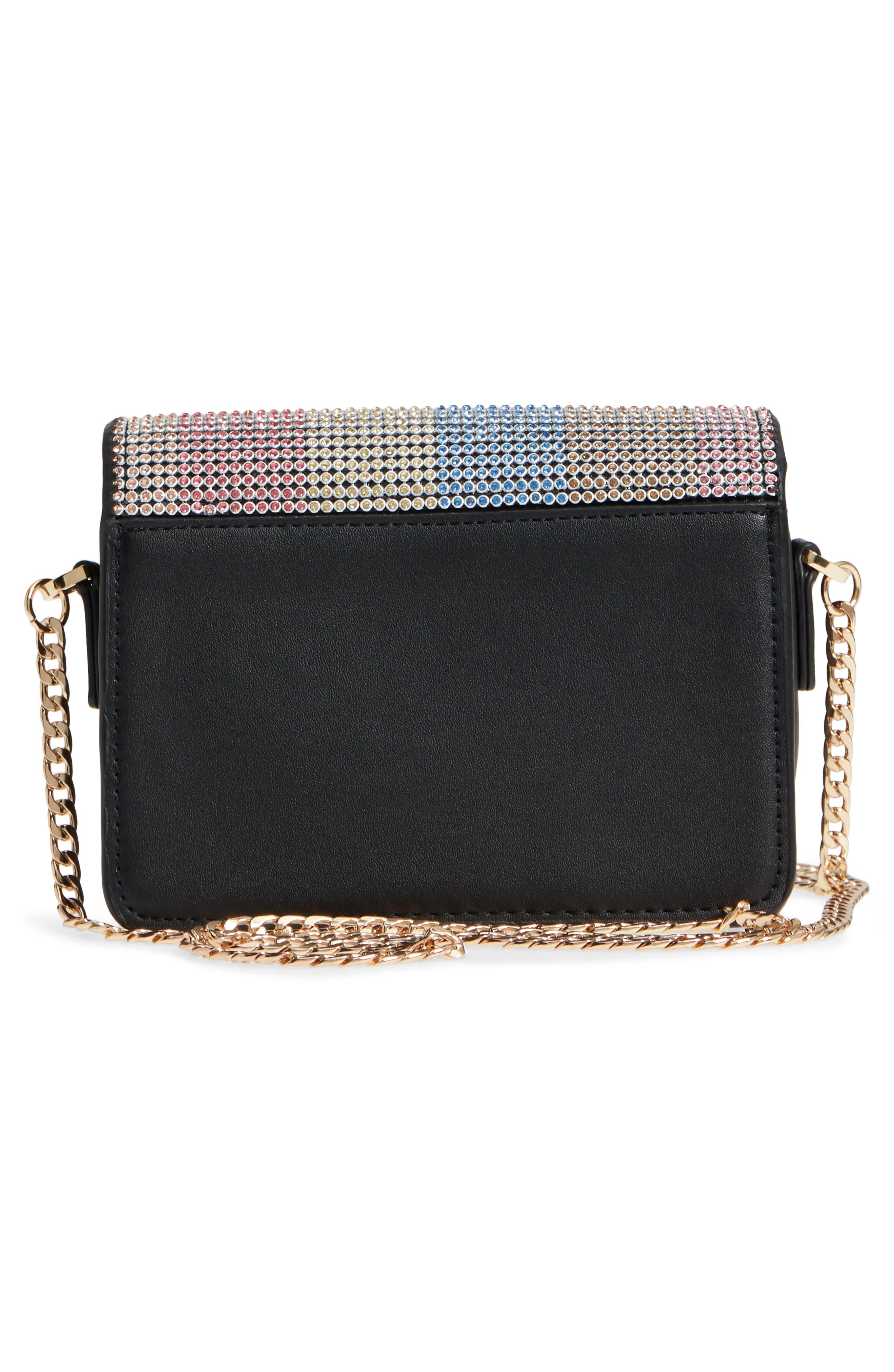 Rosie Diamante Rainbow Crossbody Bag,                             Alternate thumbnail 3, color,                             Black Multi