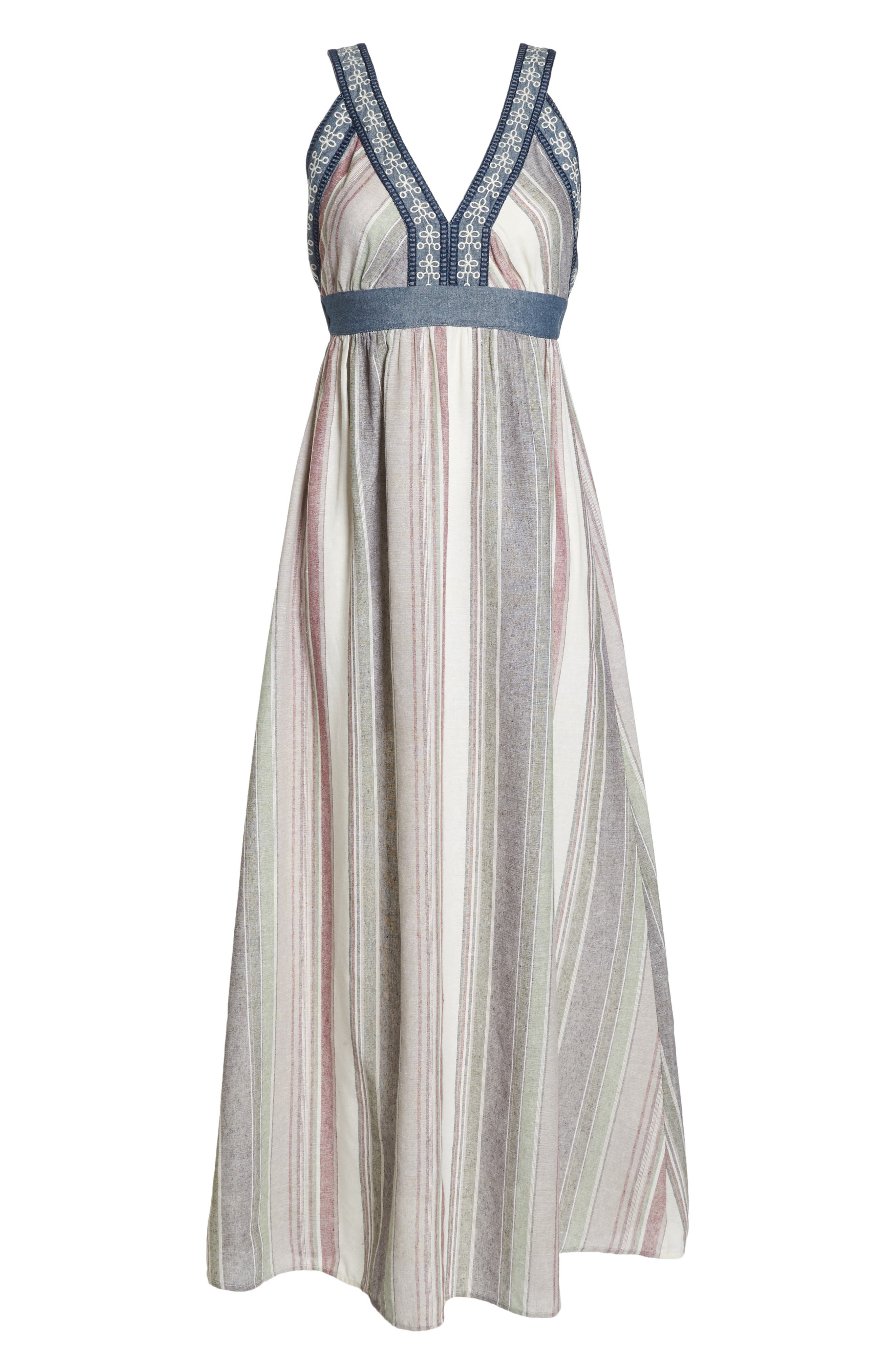 Stripe Maxi Dress,                             Alternate thumbnail 7, color,                             Cream