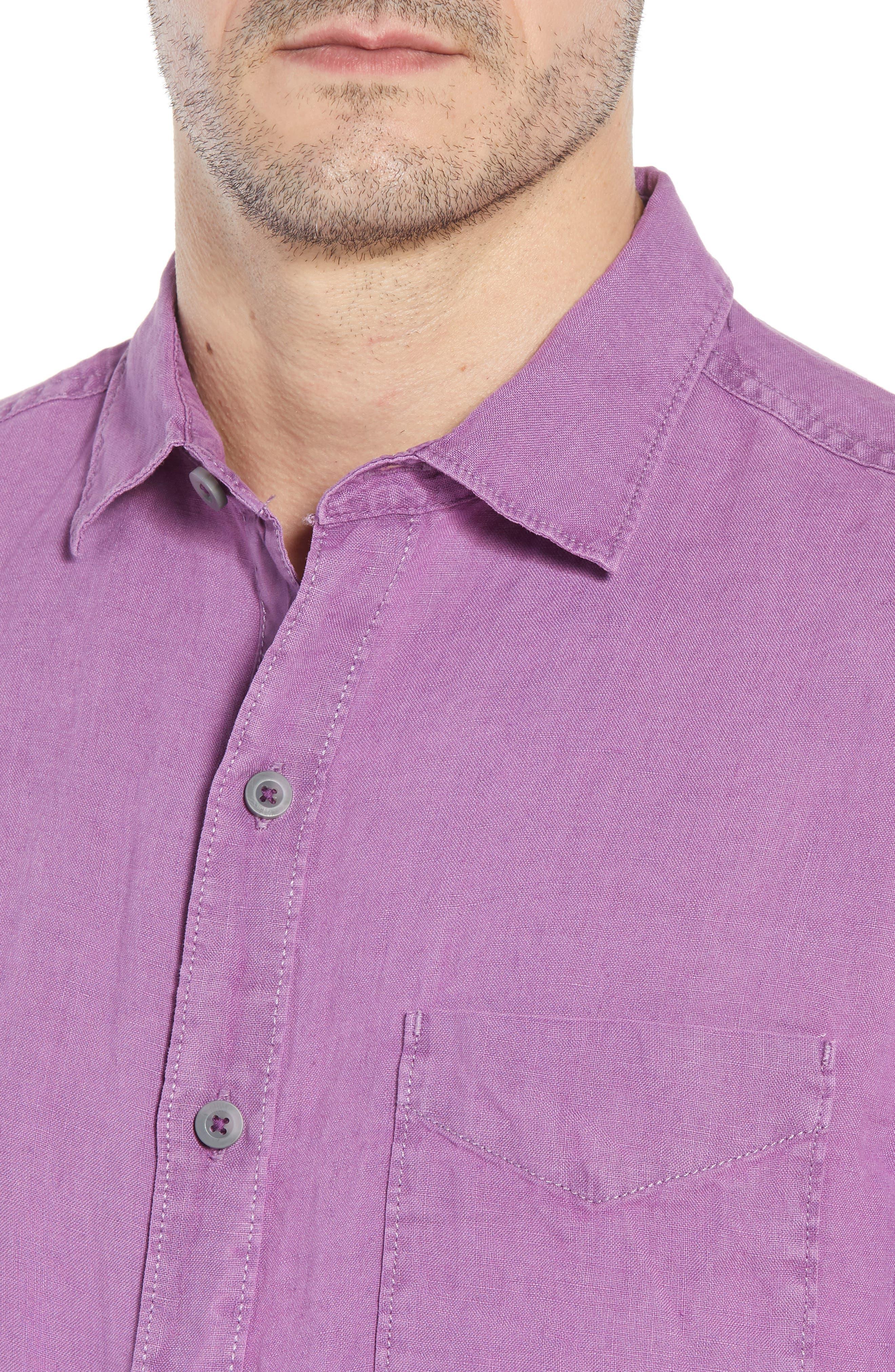 Seaspray Breezer Regular Fit Linen Sport Shirt,                             Alternate thumbnail 2, color,                             Sparkling Grape