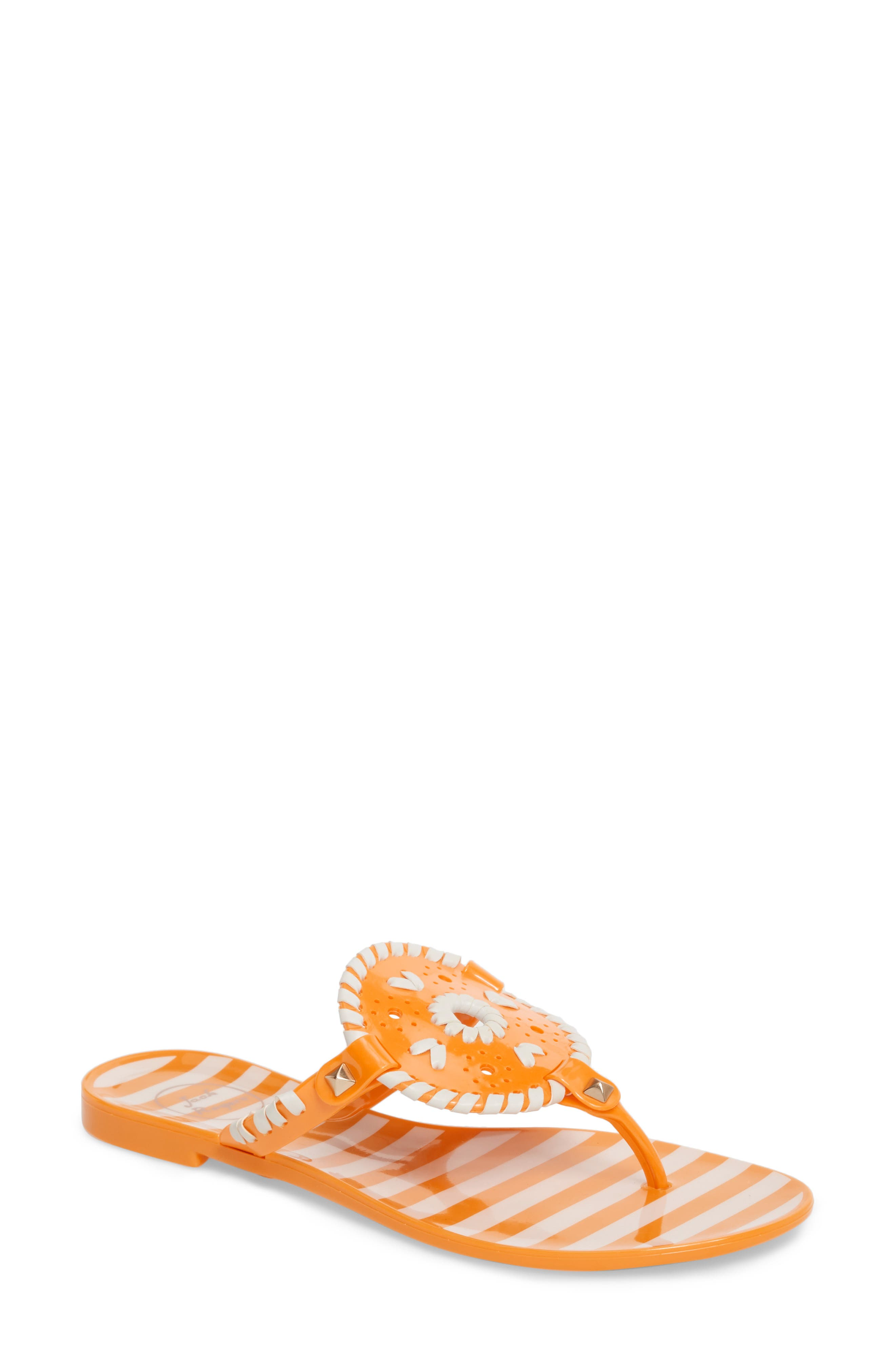 'Georgica' Jelly Flip Flop,                             Main thumbnail 1, color,                             Tangerine/ White Fabric