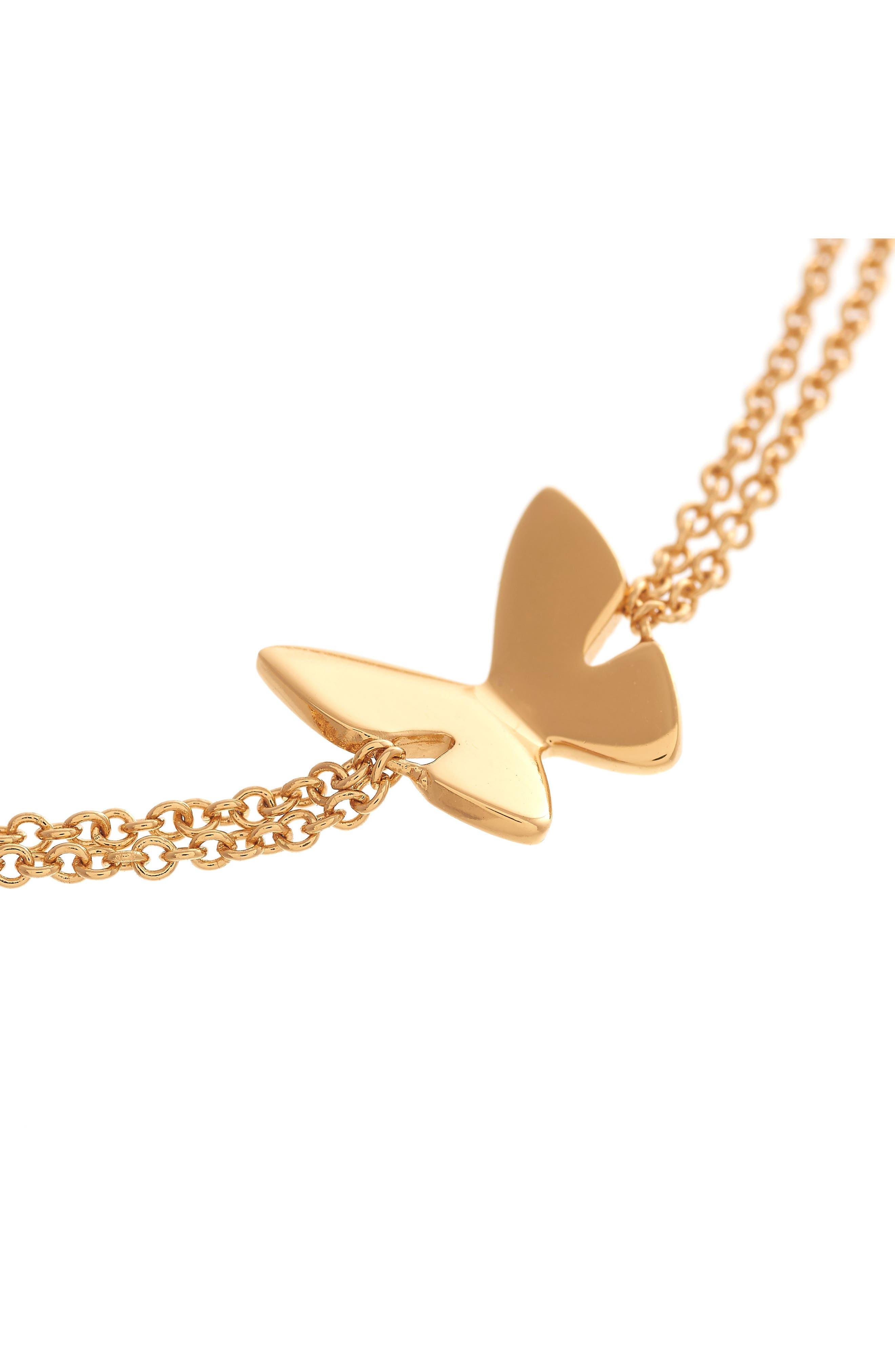 Social Butterfly Chain Bracelet,                             Alternate thumbnail 3, color,                             Gold