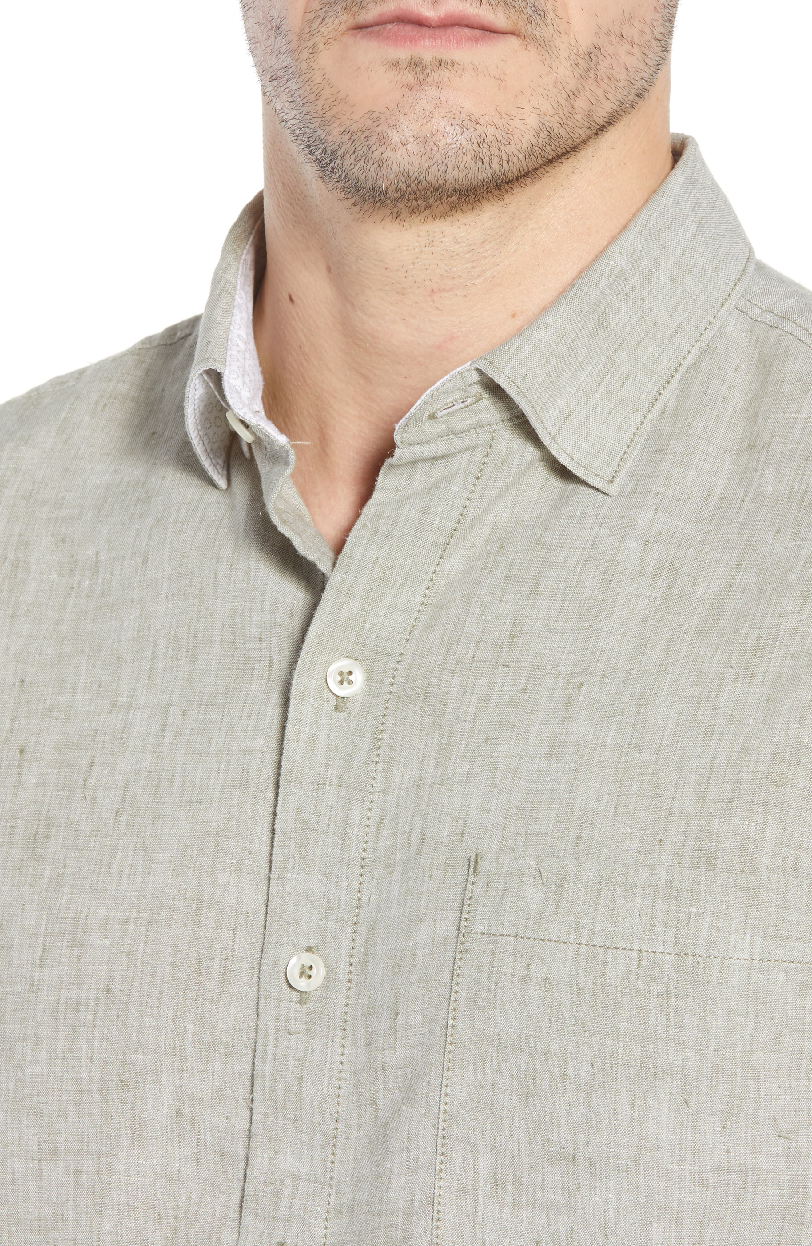 Alternate Image 4  - Tommy Bahama Lanai Tides Regular Fit Linen Blend Sport Shirt