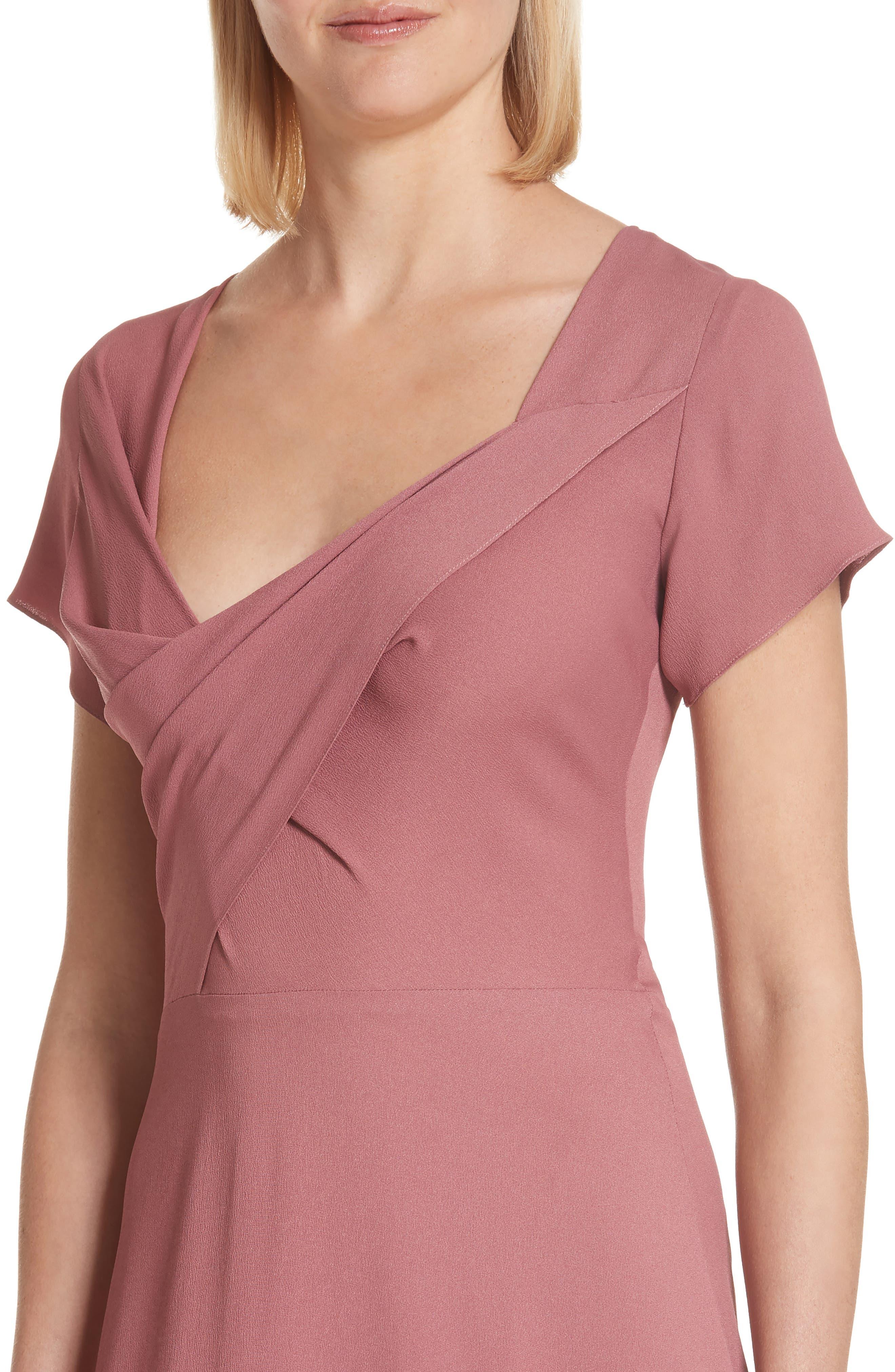 Asymmetrical Fold Bodice Dress,                             Alternate thumbnail 4, color,                             Dark Salmon