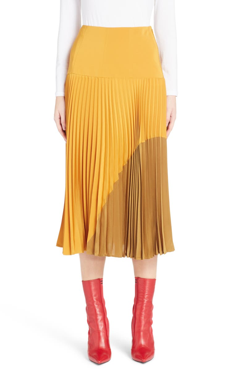 Pleated Silk Cr?pe de Chine Skirt