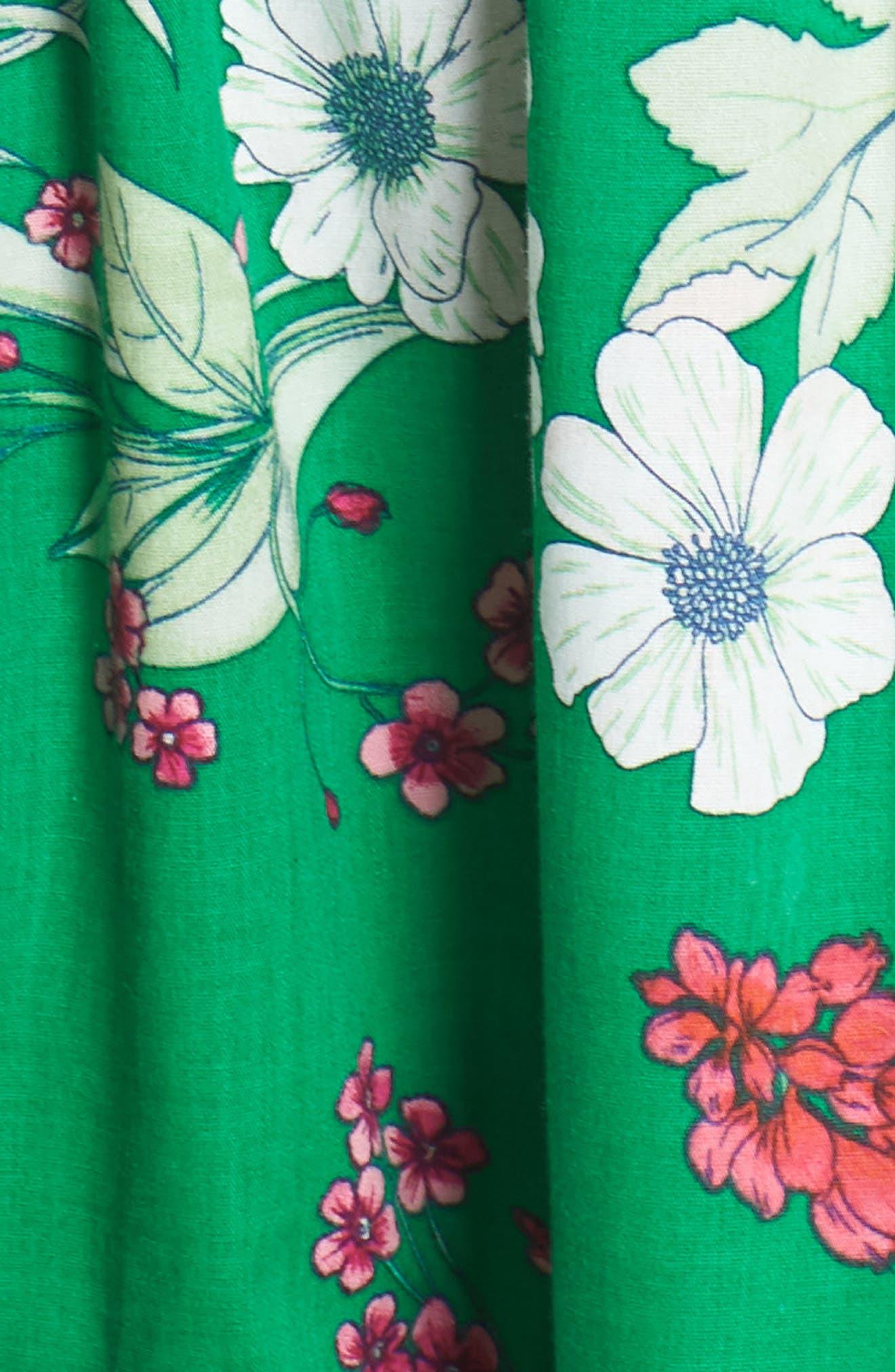 Ruffle Hem Cotton Fit & Flare Sundress,                             Alternate thumbnail 6, color,                             Green