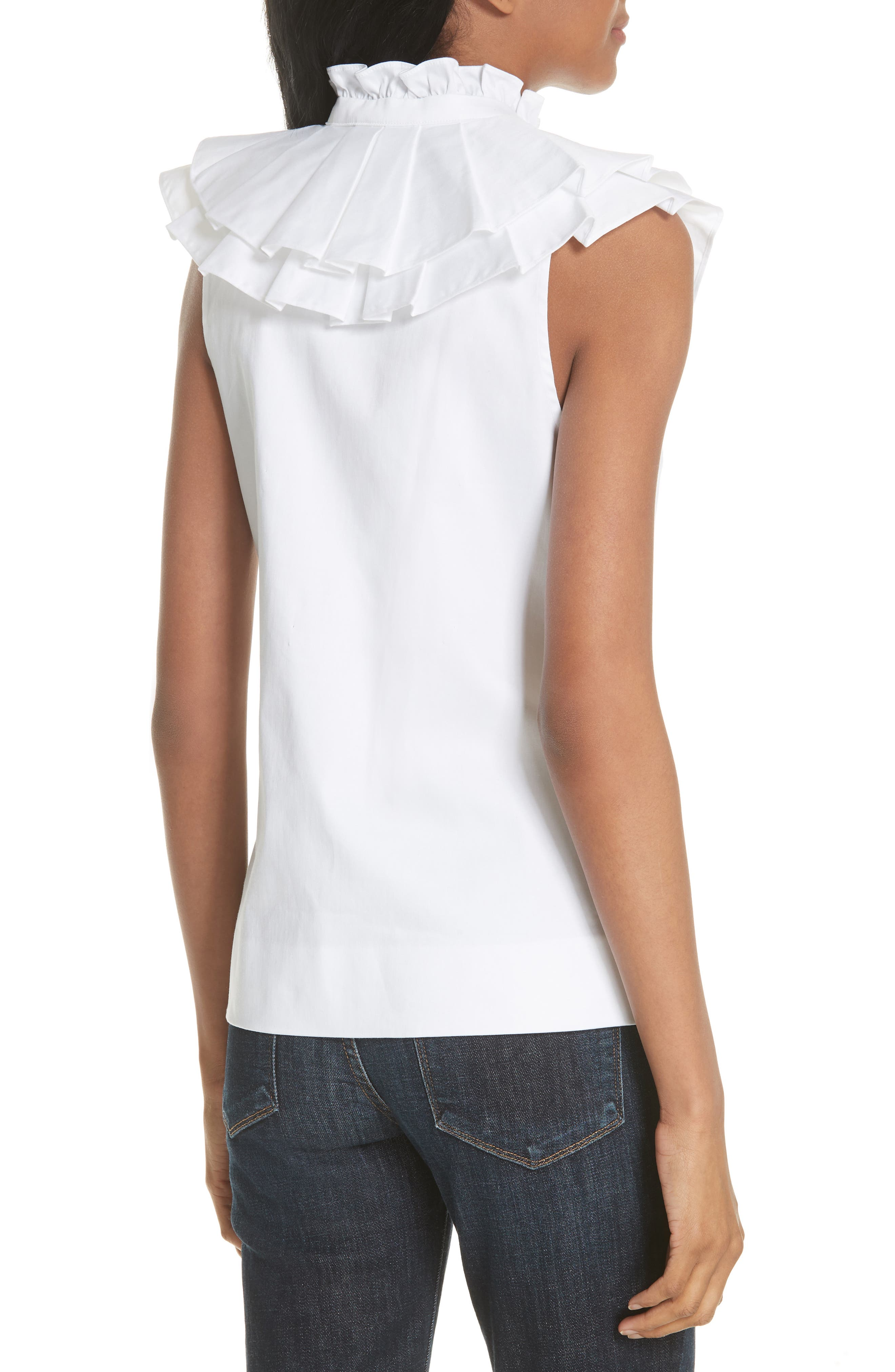 Harmony Ruffle Neck Top,                             Alternate thumbnail 2, color,                             White
