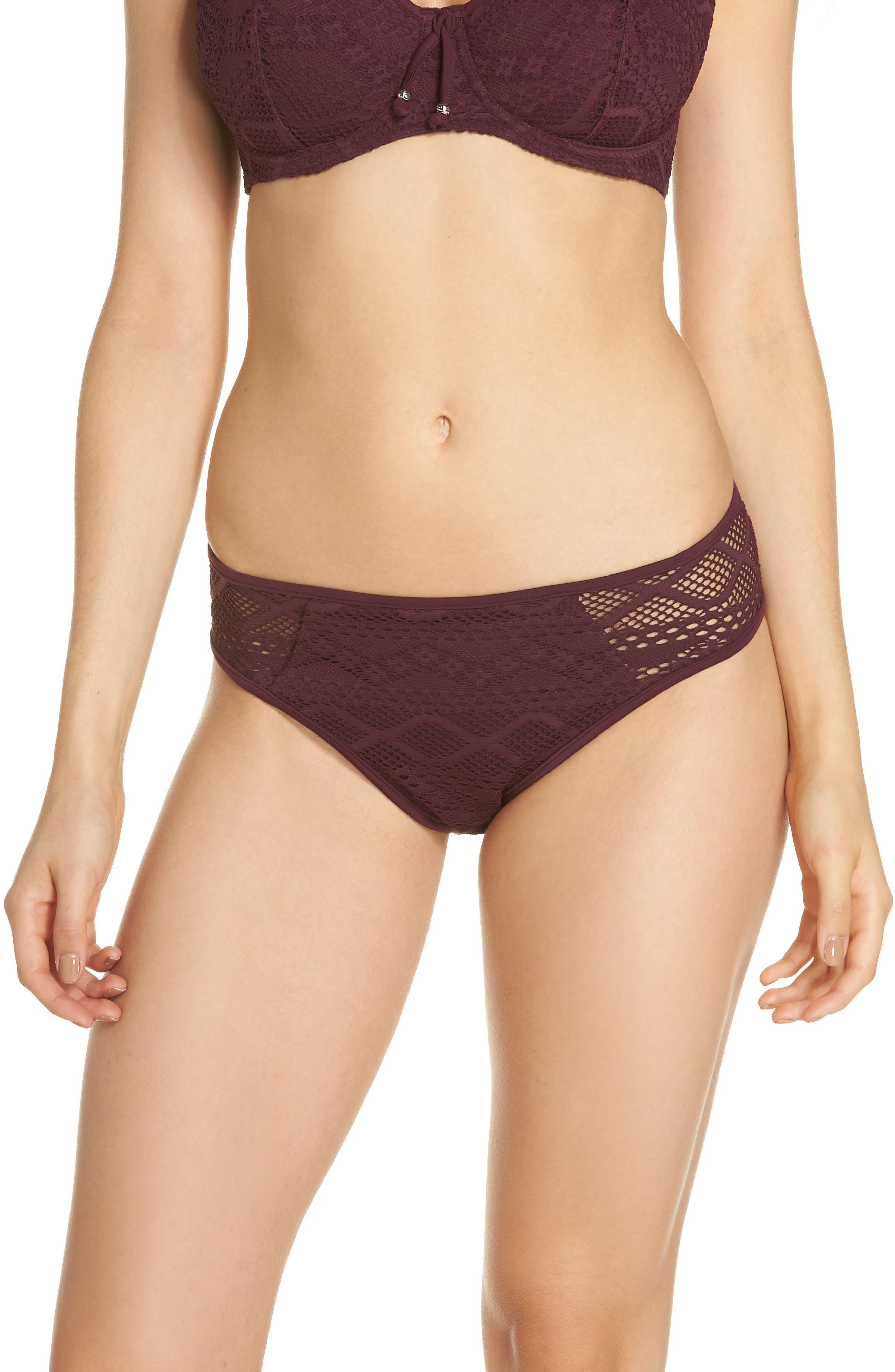 FREYA 'Sundance' Crochet Hipster Bikini Bottoms in Black Cherry