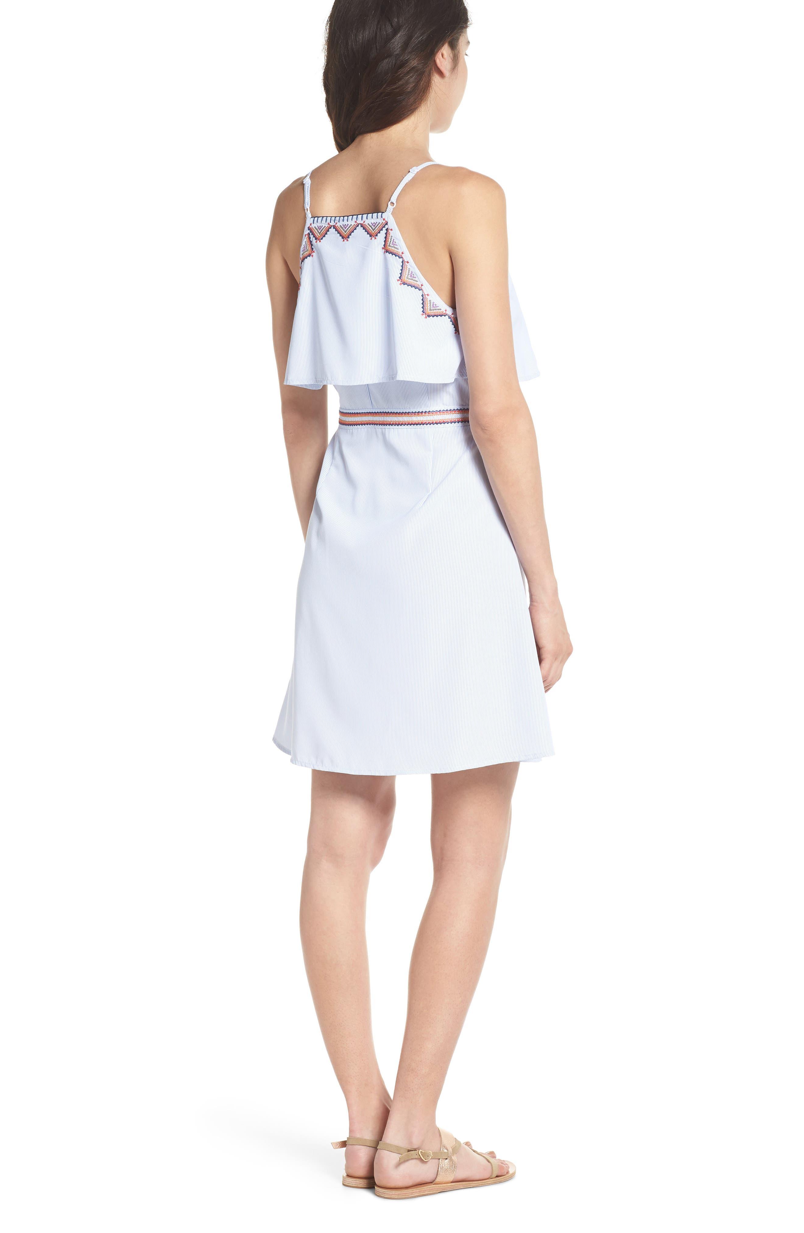 Stripe Wrap Dress,                             Alternate thumbnail 2, color,                             Blue