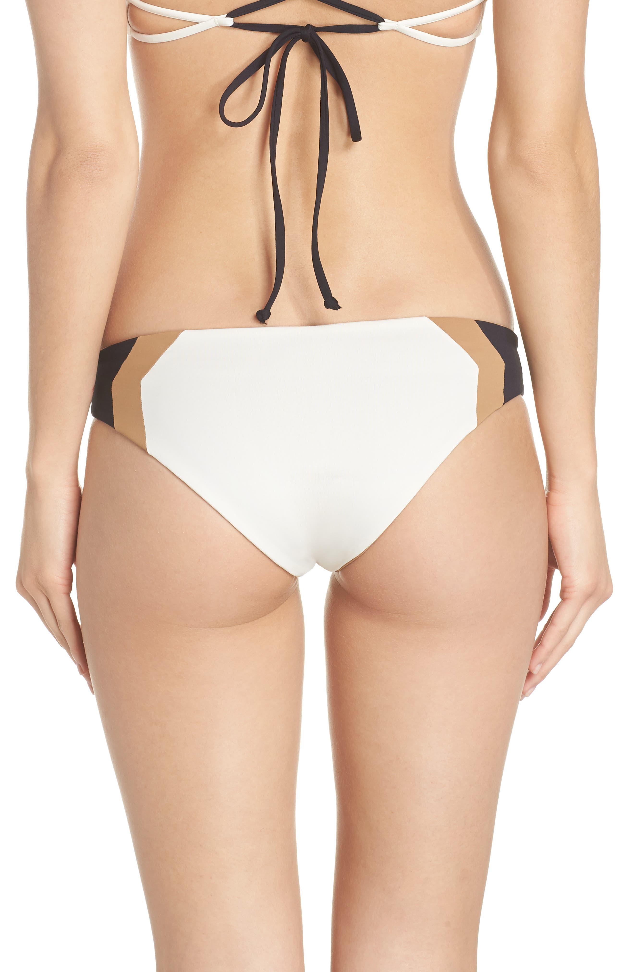 Baracuda Reversible Classic Hipster Bikini Bottoms,                             Alternate thumbnail 2, color,                             Cream/ Black/ Camel