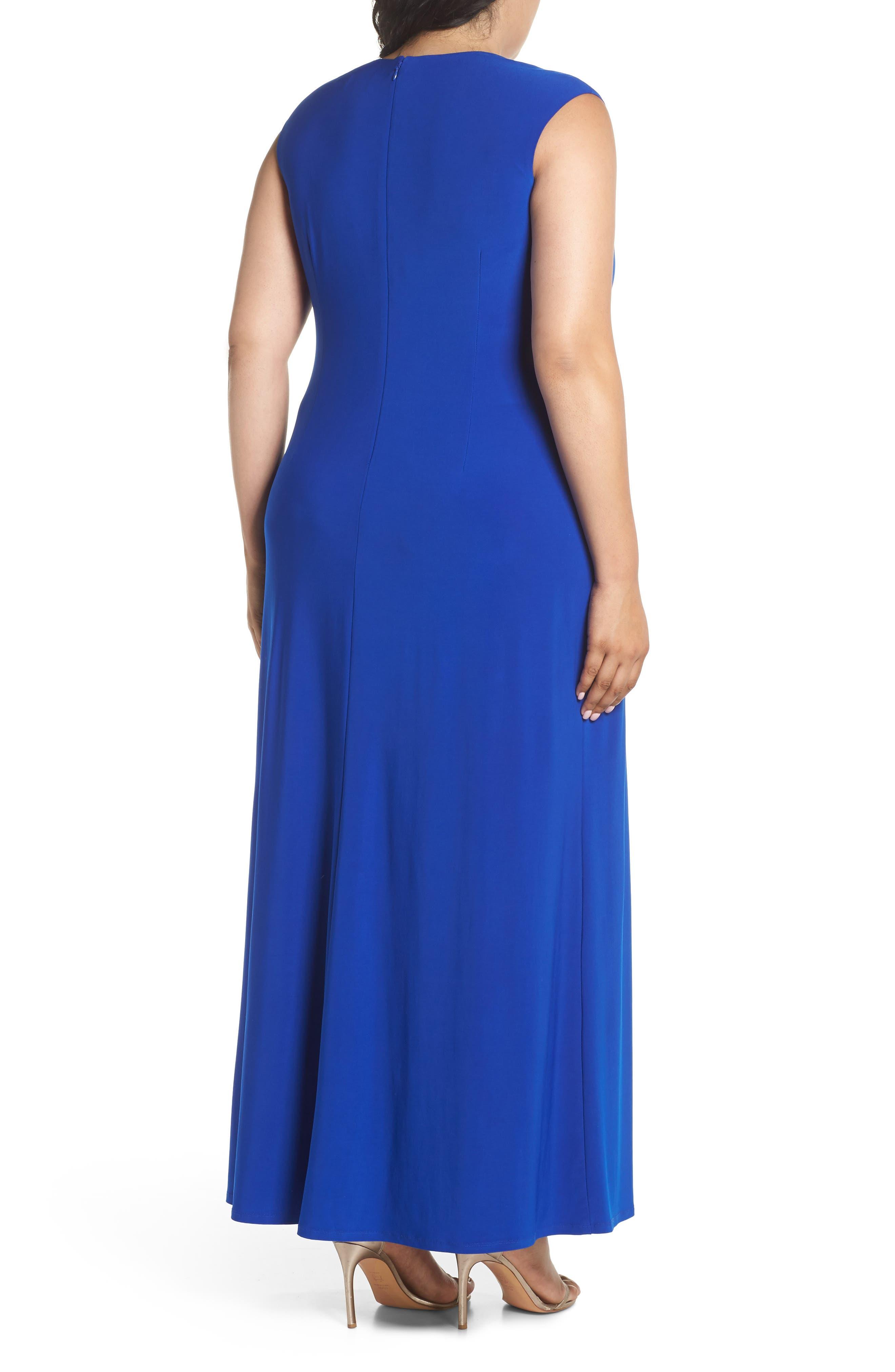 Embellished Surplice Dress,                             Alternate thumbnail 2, color,                             Cobalt