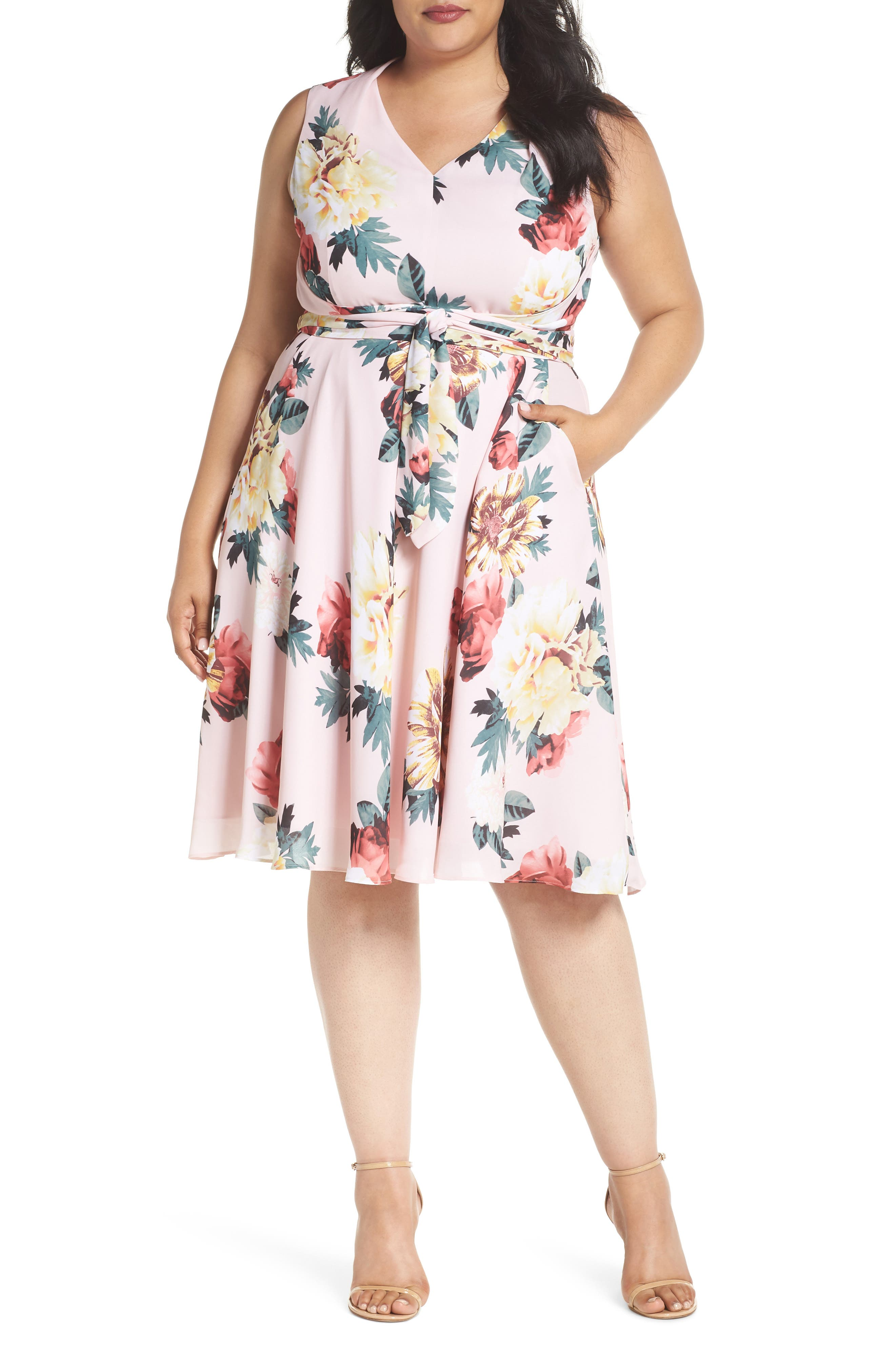 Floral Print Tie Waist Fit & Flare Dress,                             Main thumbnail 1, color,                             Blush/ Lemon/ Coral