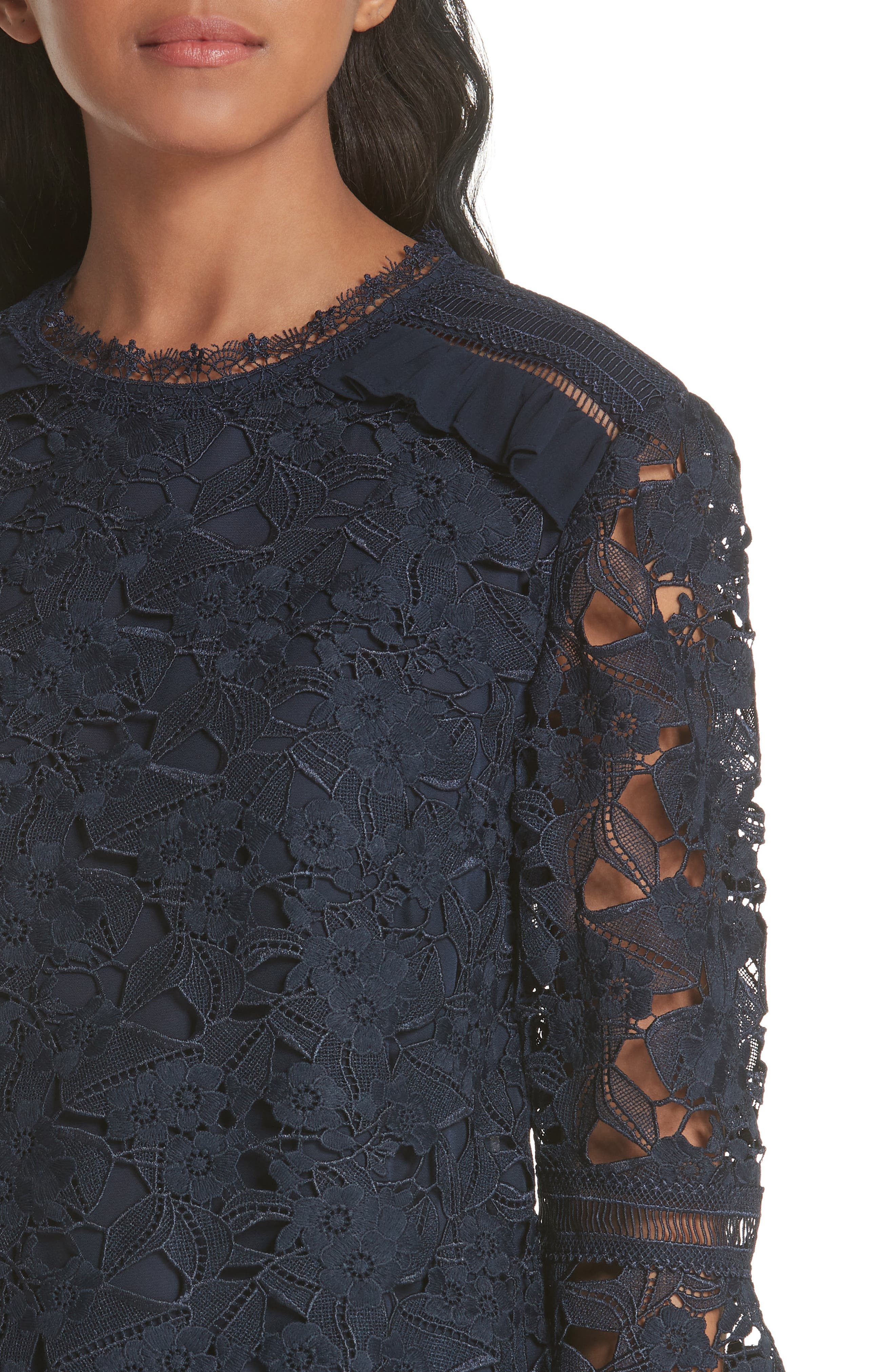 Flare Cuff Lace Top,                             Alternate thumbnail 4, color,                             Navy
