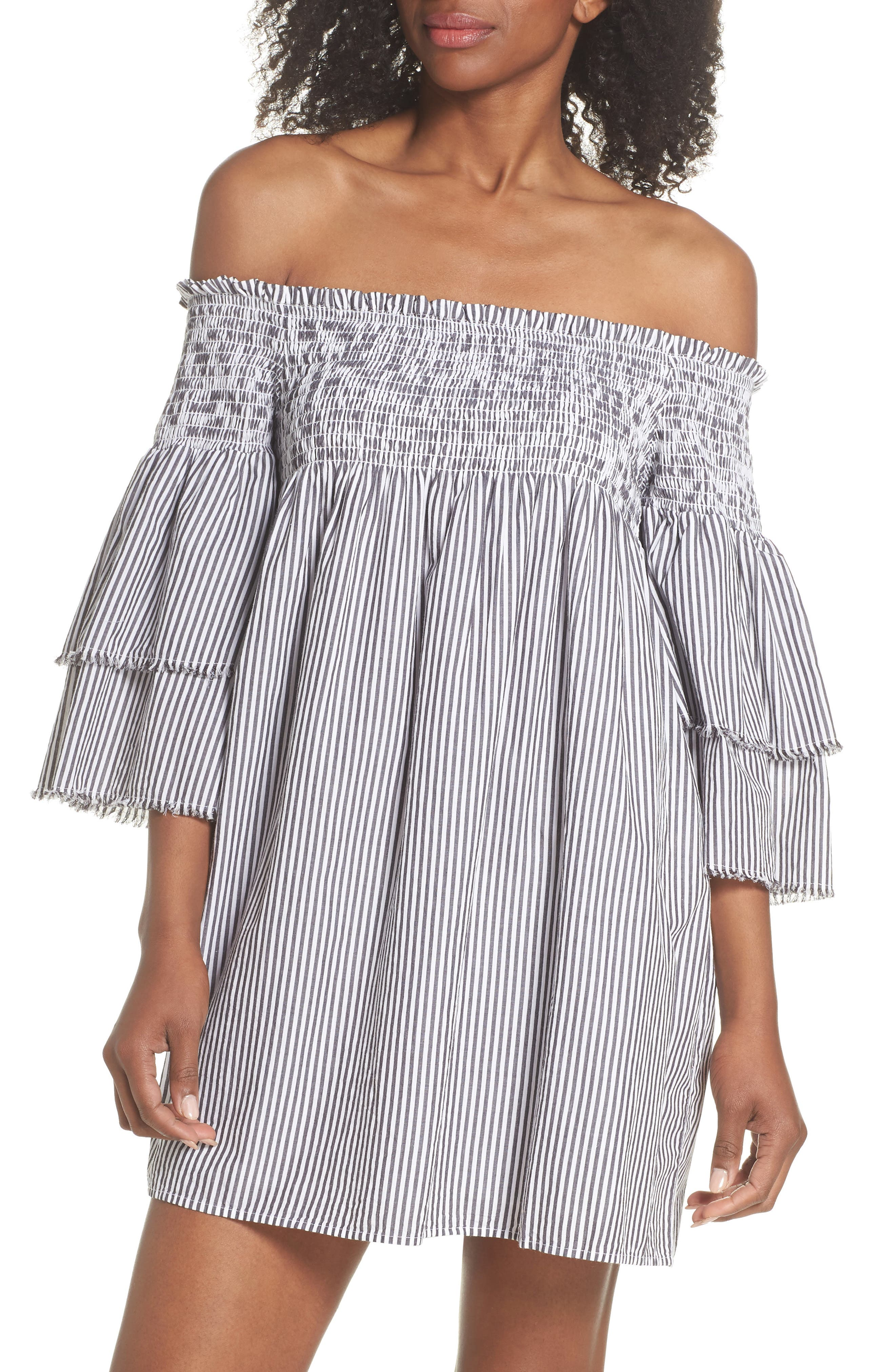 Bell Sleeve Smocked Cover-Up Dress,                         Main,                         color, Charcoal/ White