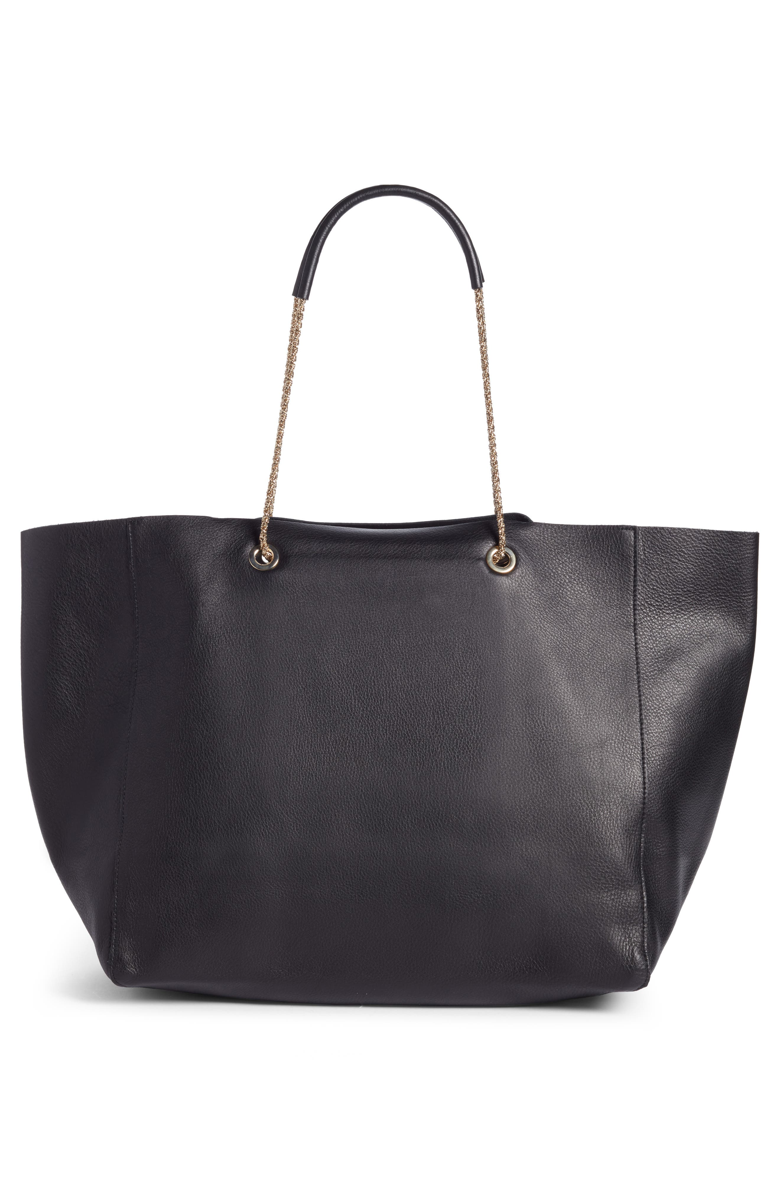 Gaby Leather Tote,                             Alternate thumbnail 3, color,                             Black