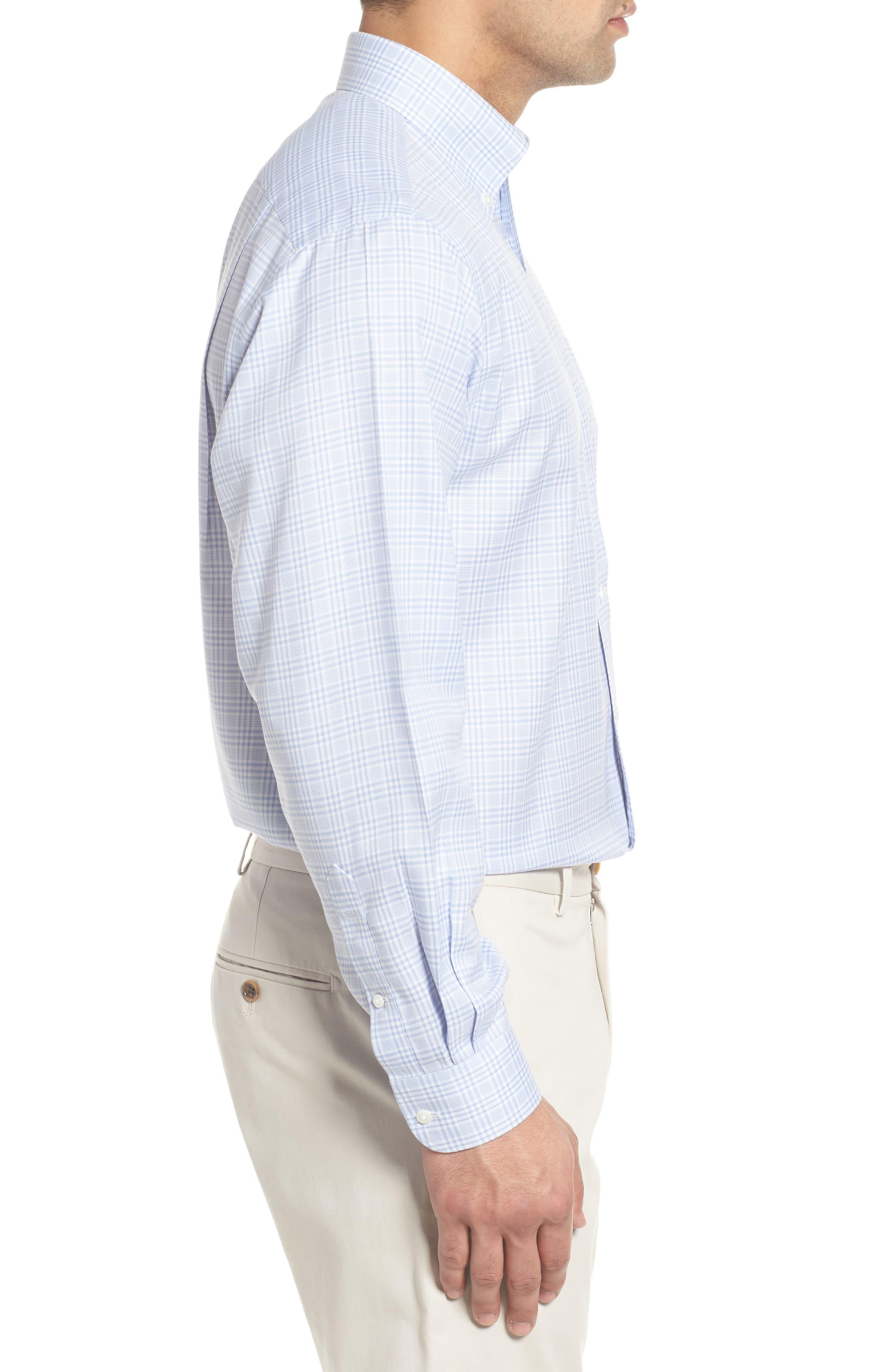 Smartcare<sup>™</sup> Classic Fit Plaid Dress Shirt,                             Alternate thumbnail 4, color,                             Blue Brunnera