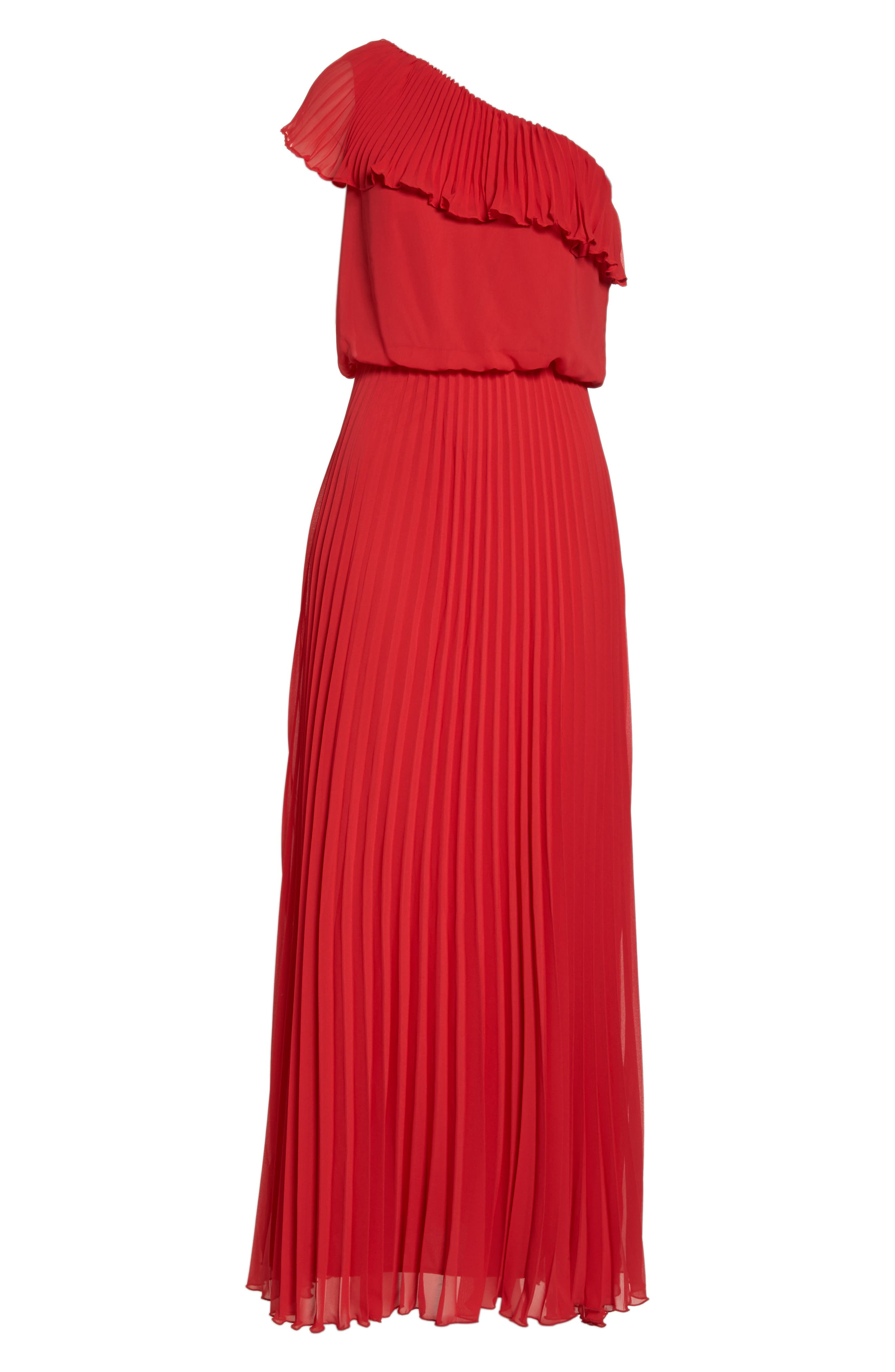 One-Shoulder Pleat Chiffon Gown,                             Alternate thumbnail 7, color,                             Red