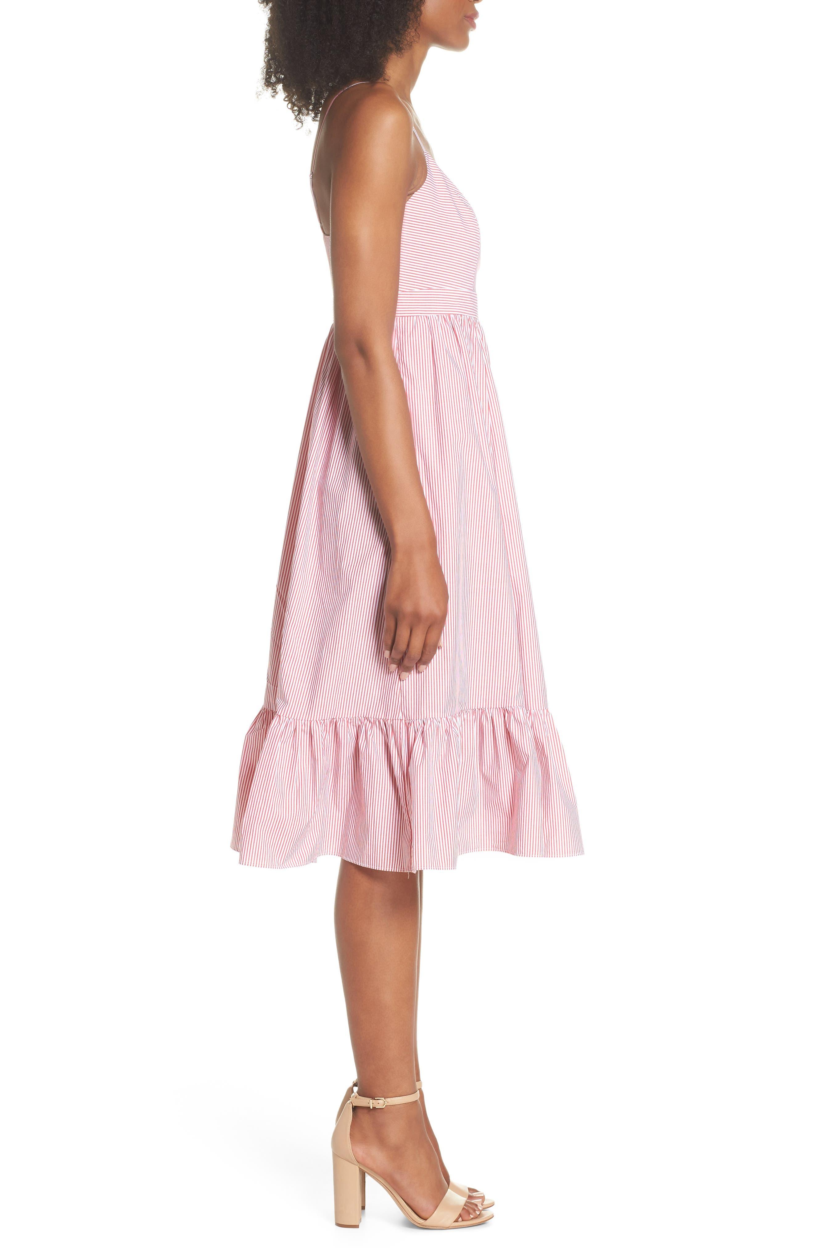 Drapey Spaghetti Strap Dress,                             Alternate thumbnail 3, color,                             Providence Red
