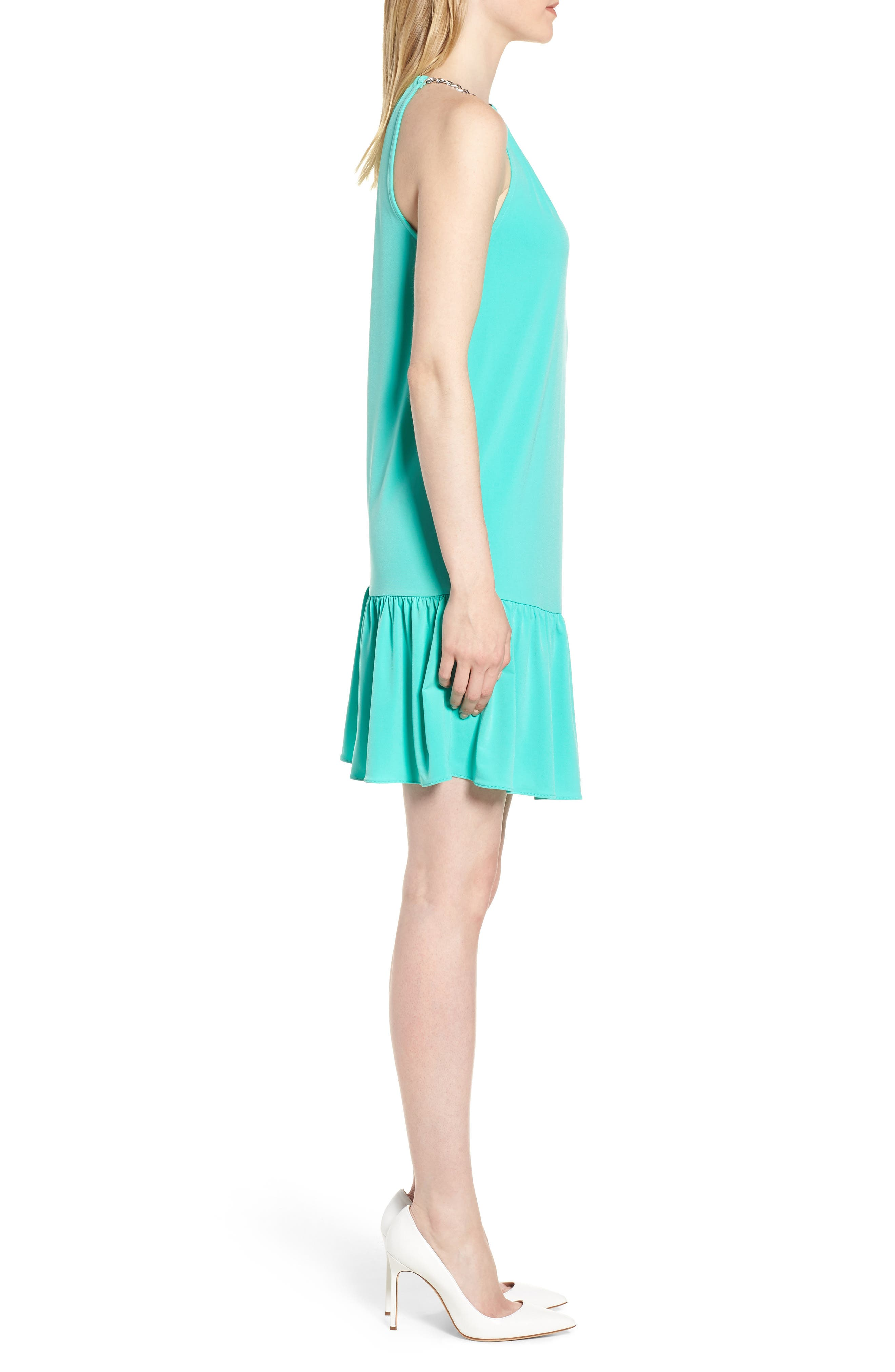 Chain Detail Halter Dress,                             Alternate thumbnail 3, color,                             Aqua