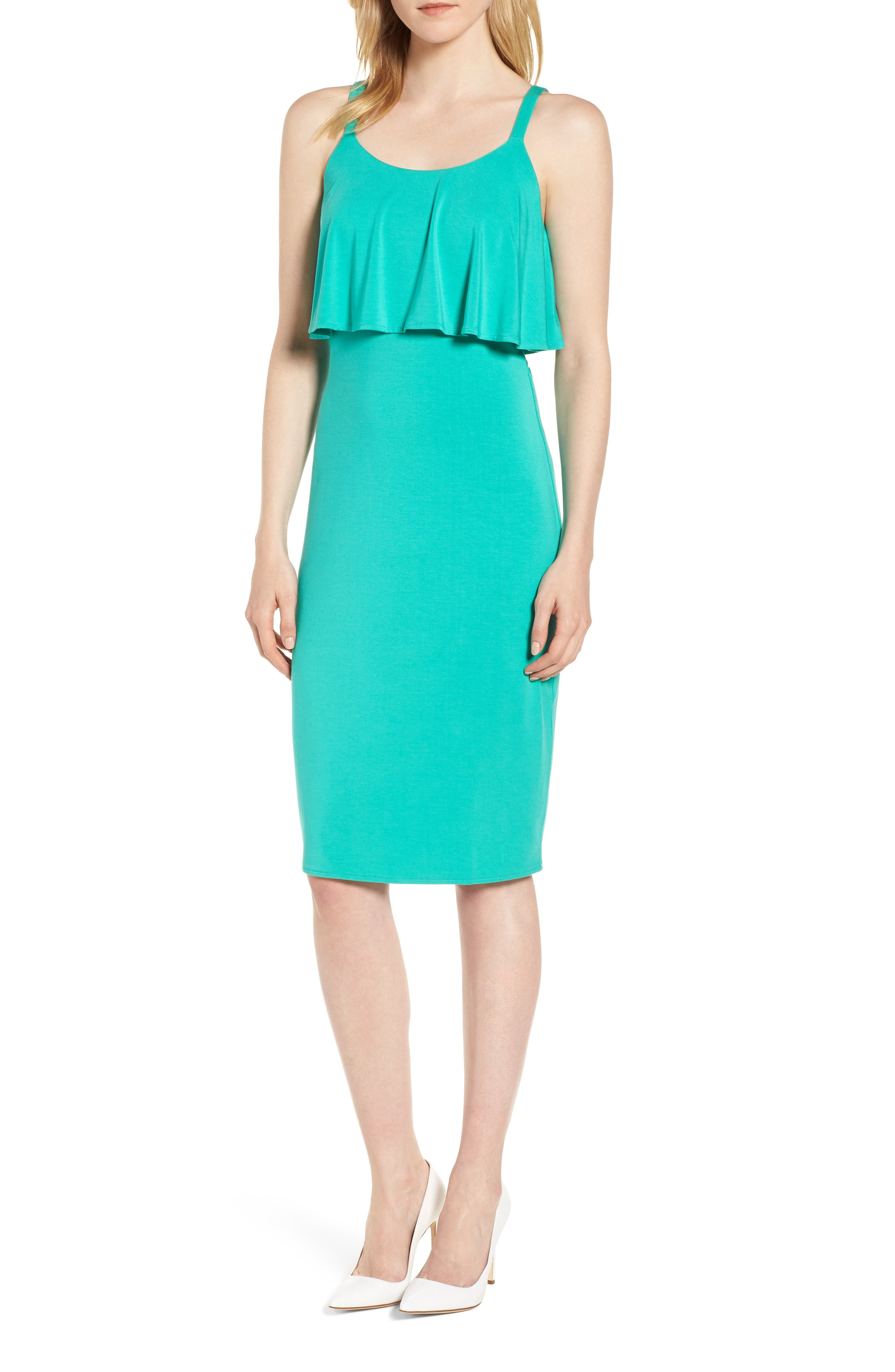Flounce Front Dress,                             Main thumbnail 1, color,                             Aqua