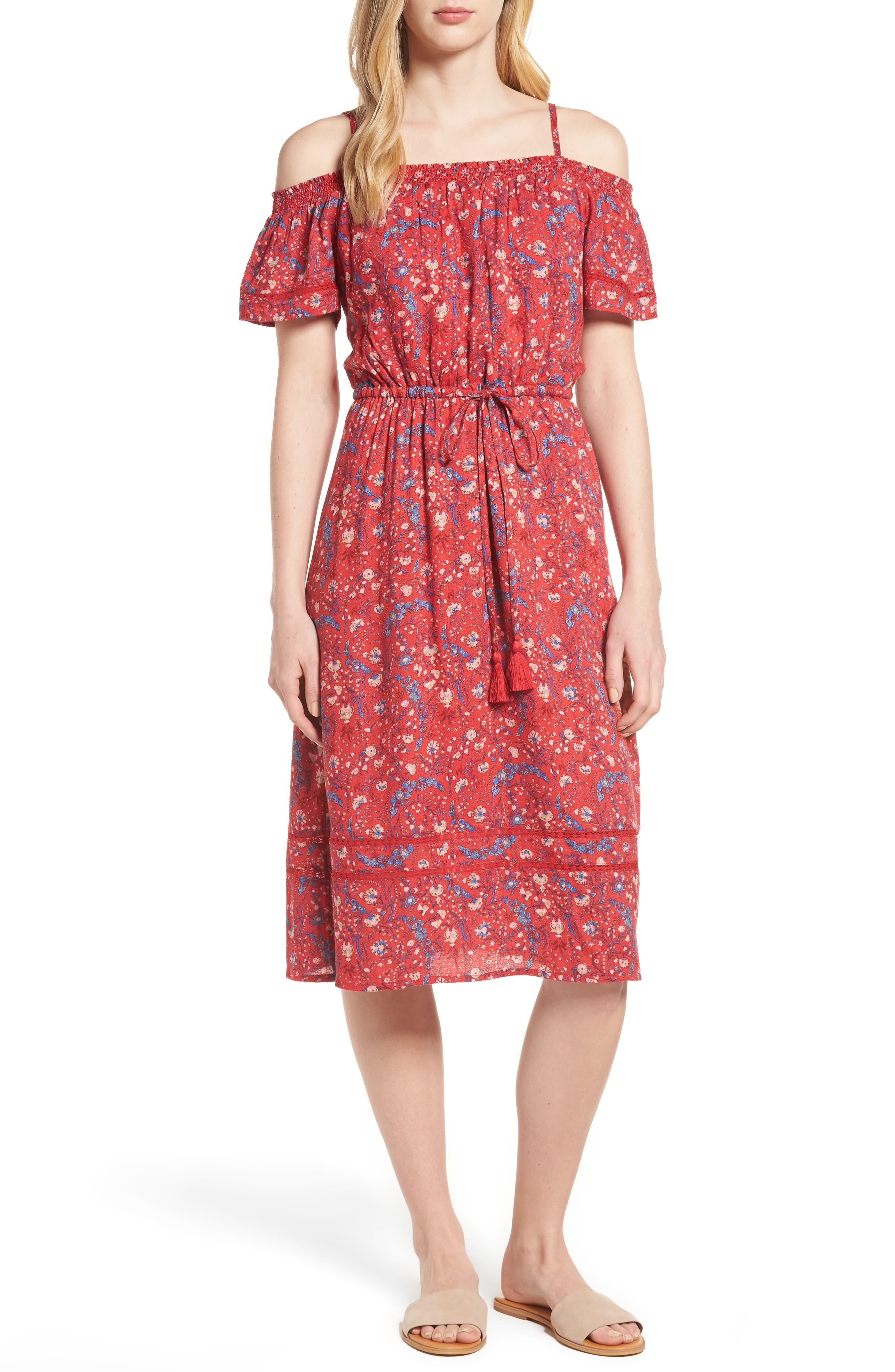 Off the Shoulder Floral Dress,                         Main,                         color, Red Multi