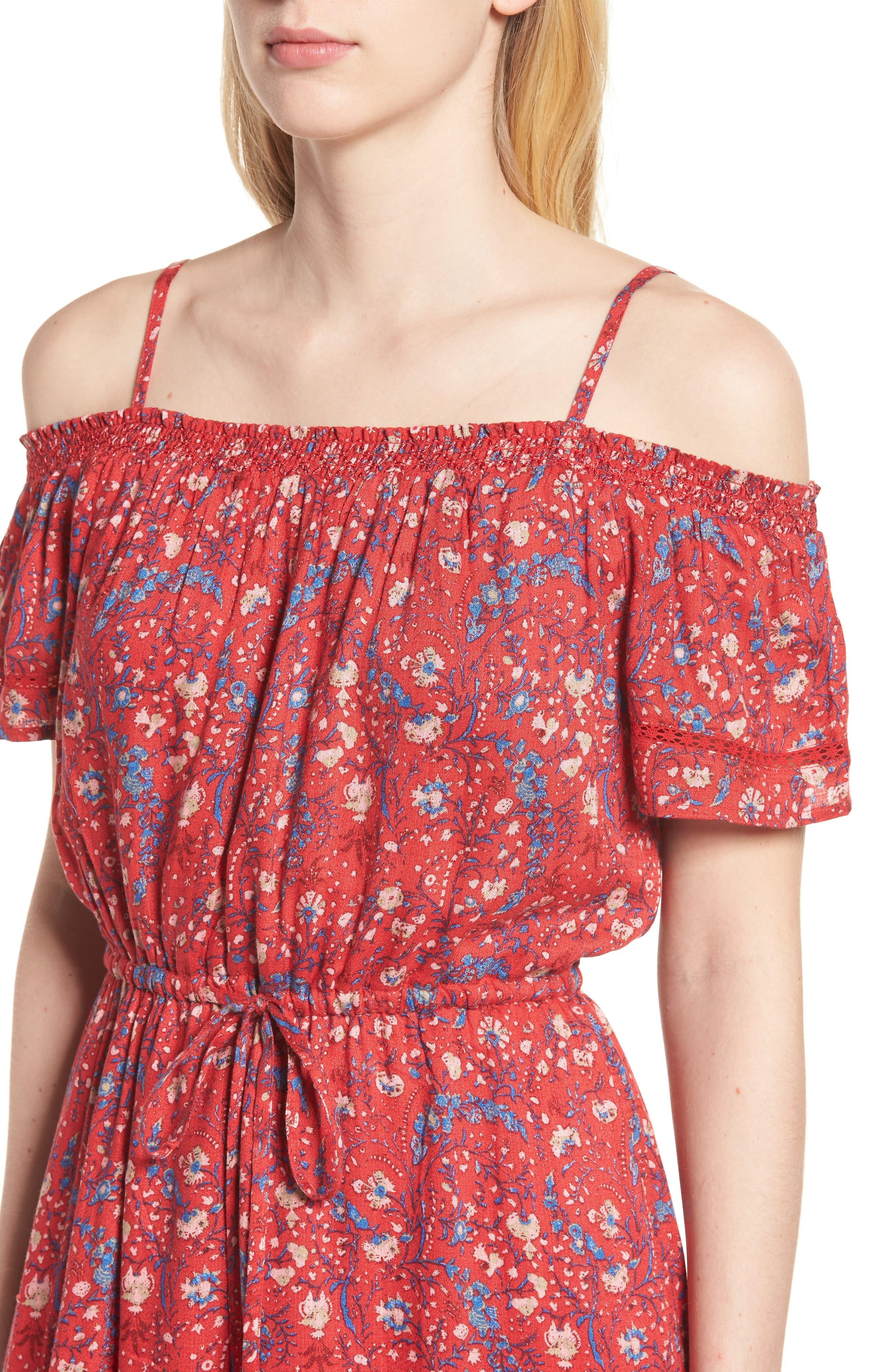 Off the Shoulder Floral Dress,                             Alternate thumbnail 4, color,                             Red Multi