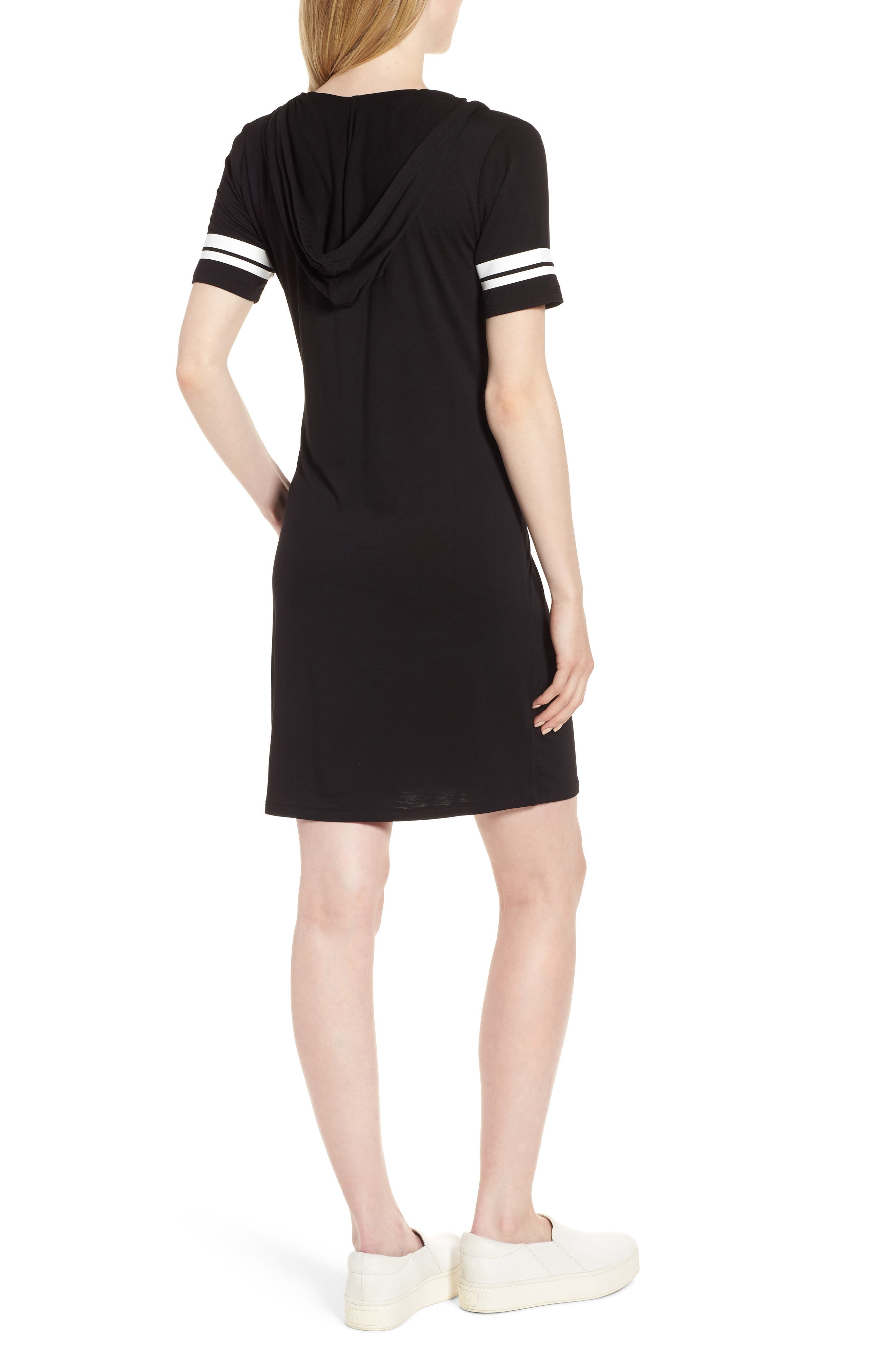 MICHAEL Michal Kors Stripe Sleeve Hoodie Dress,                             Alternate thumbnail 2, color,                             Black