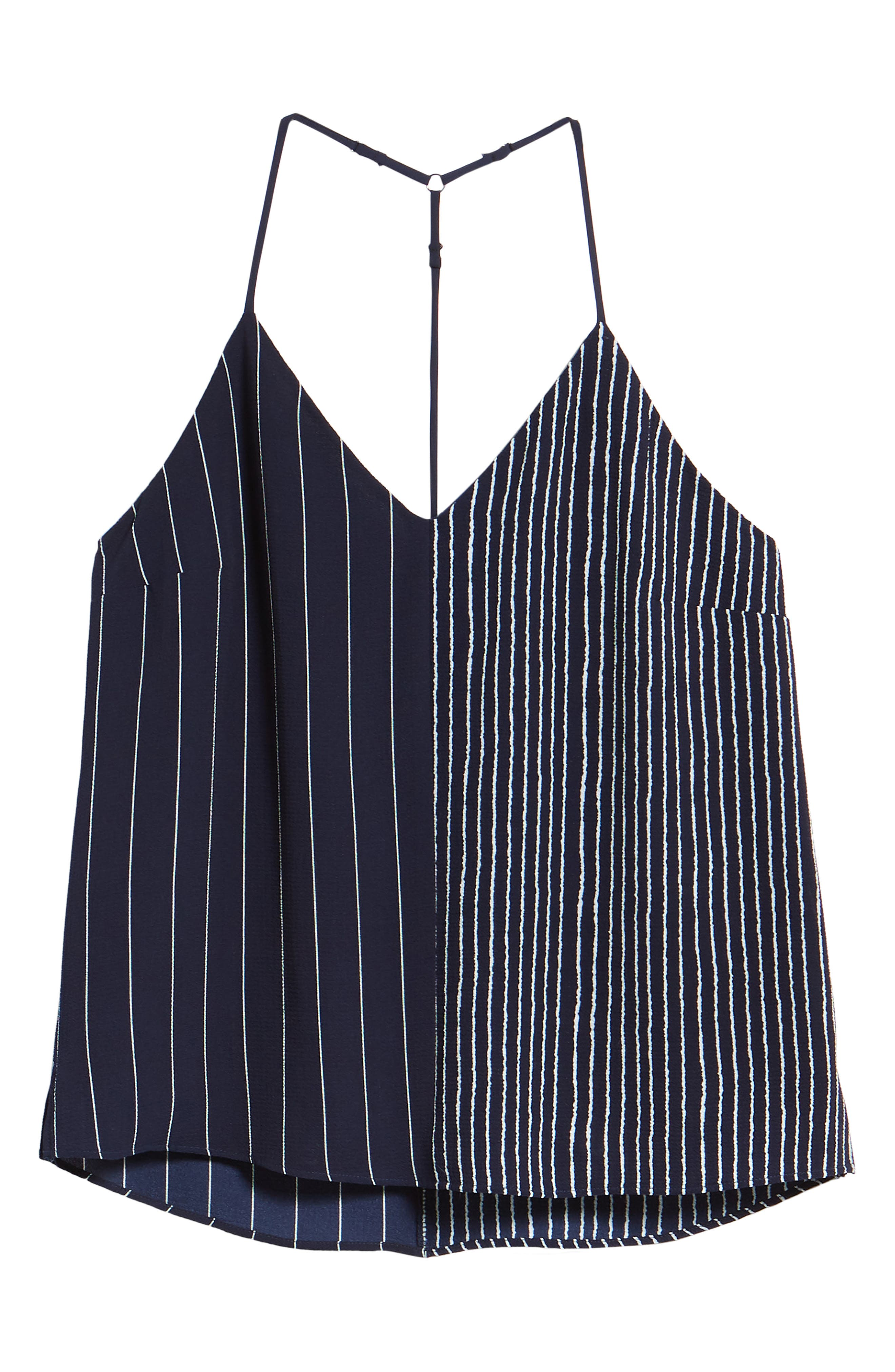 Mix Stripe Camisole,                             Alternate thumbnail 6, color,                             Navy/ White