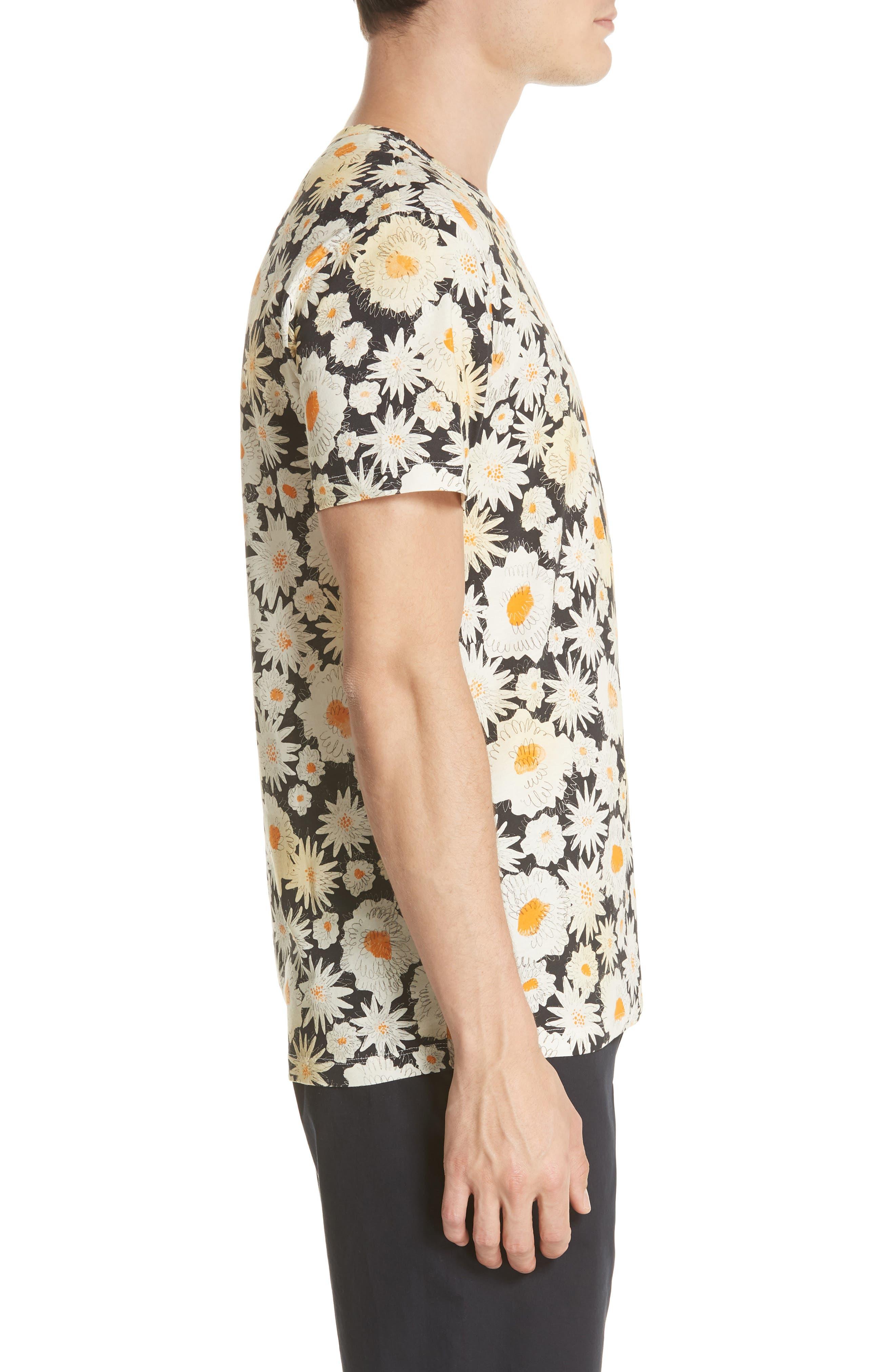 Adderton Flower Print T-Shirt,                             Alternate thumbnail 3, color,                             Black