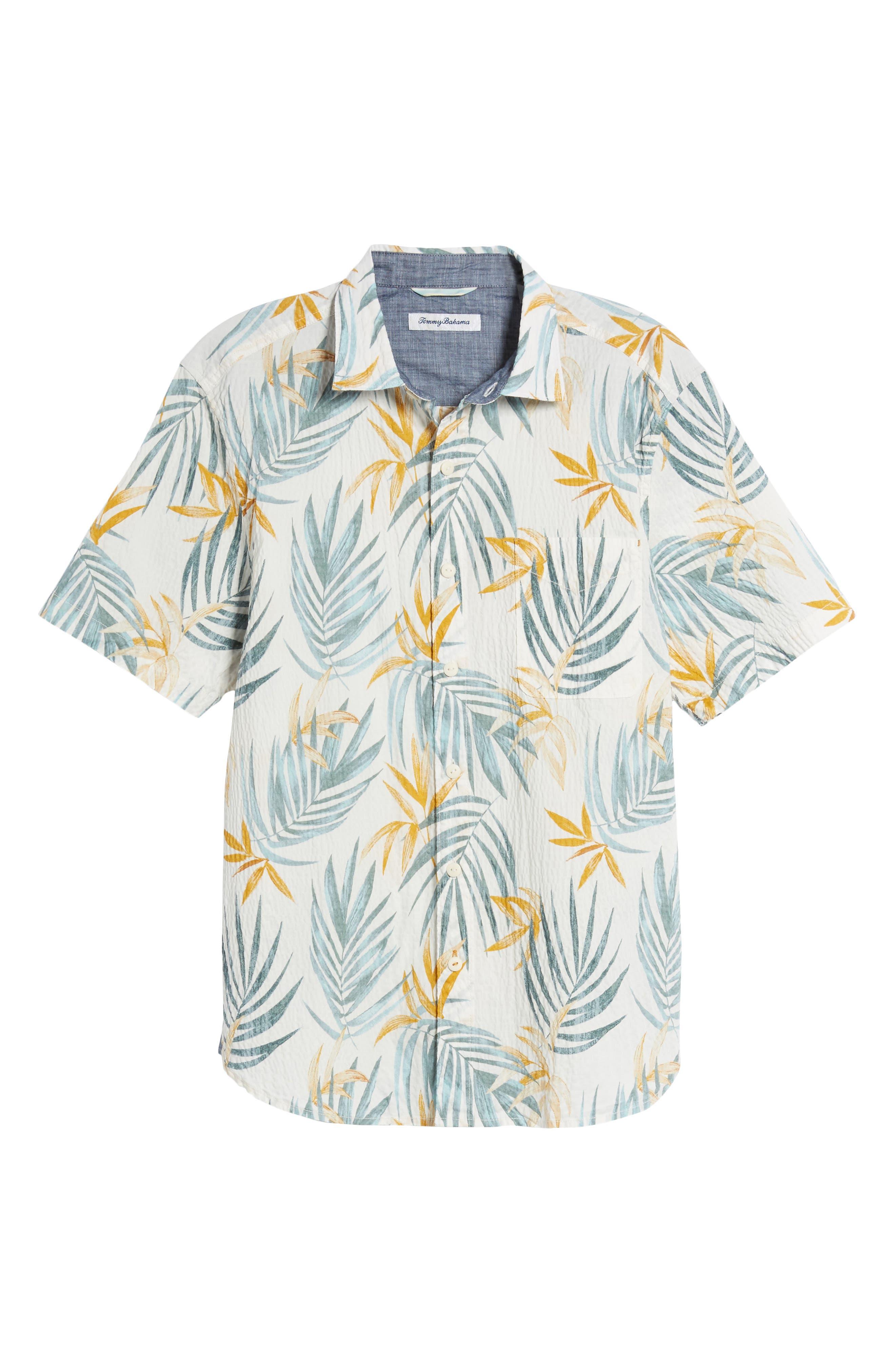 Fiesta Fronds Seersucker Sport Shirt,                             Alternate thumbnail 6, color,                             Coconut Cream