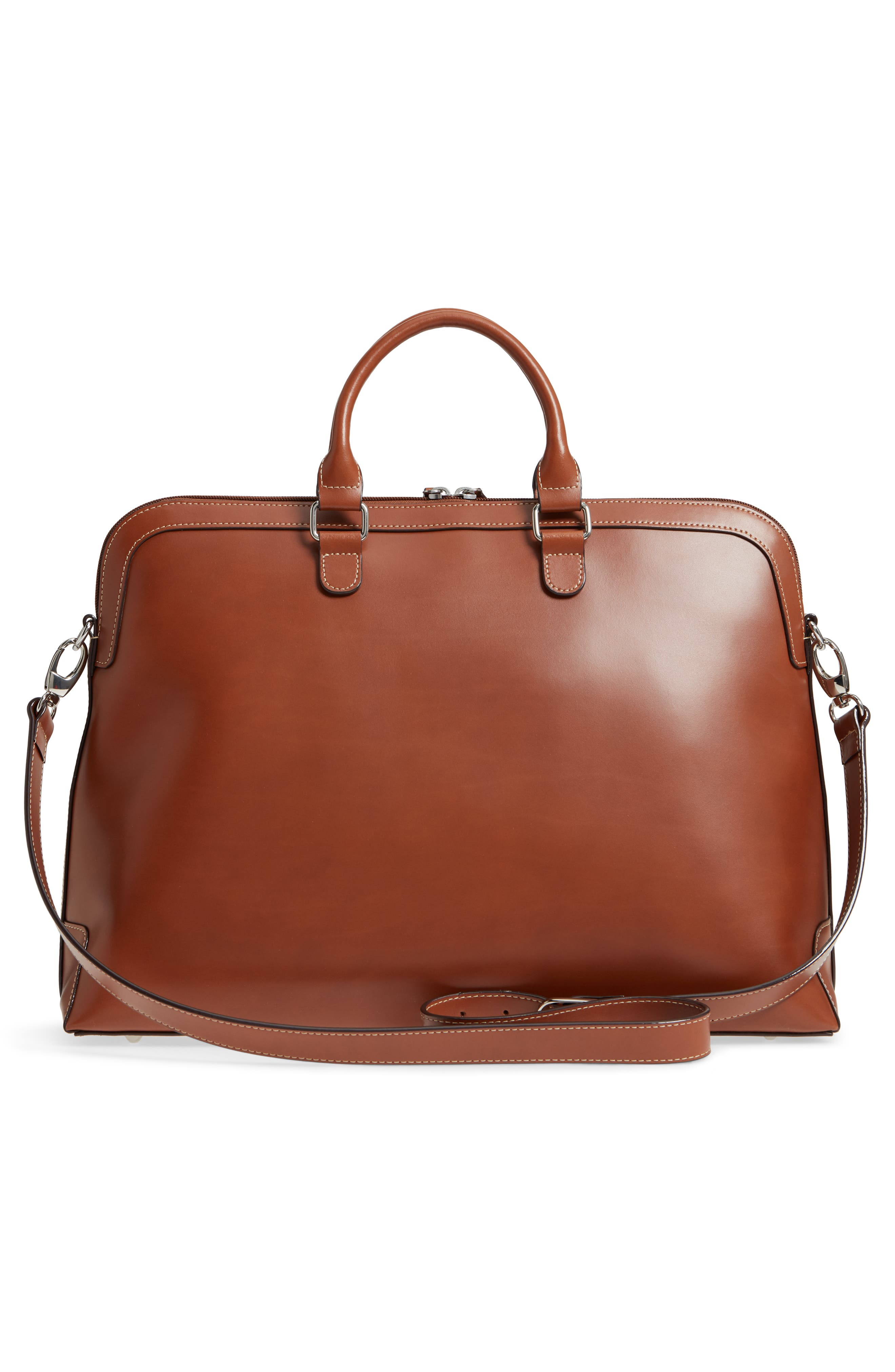 Audrey Under Lock & Key - Brera RFID Leather Briefcase,                             Alternate thumbnail 3, color,                             Sequoia/ Papaya