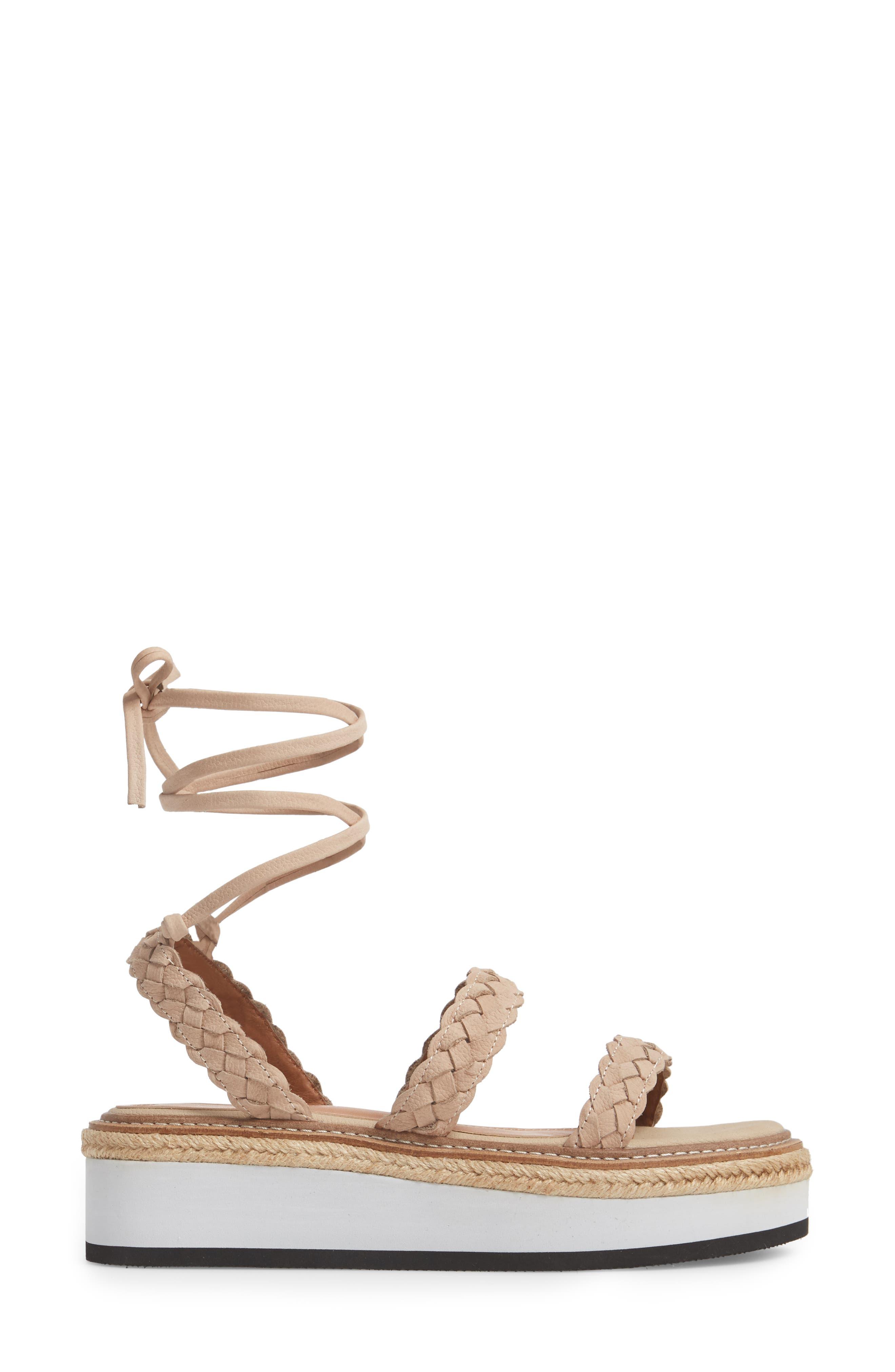 Nieve Braided Platform Sandal,                             Alternate thumbnail 3, color,                             Natural Leather