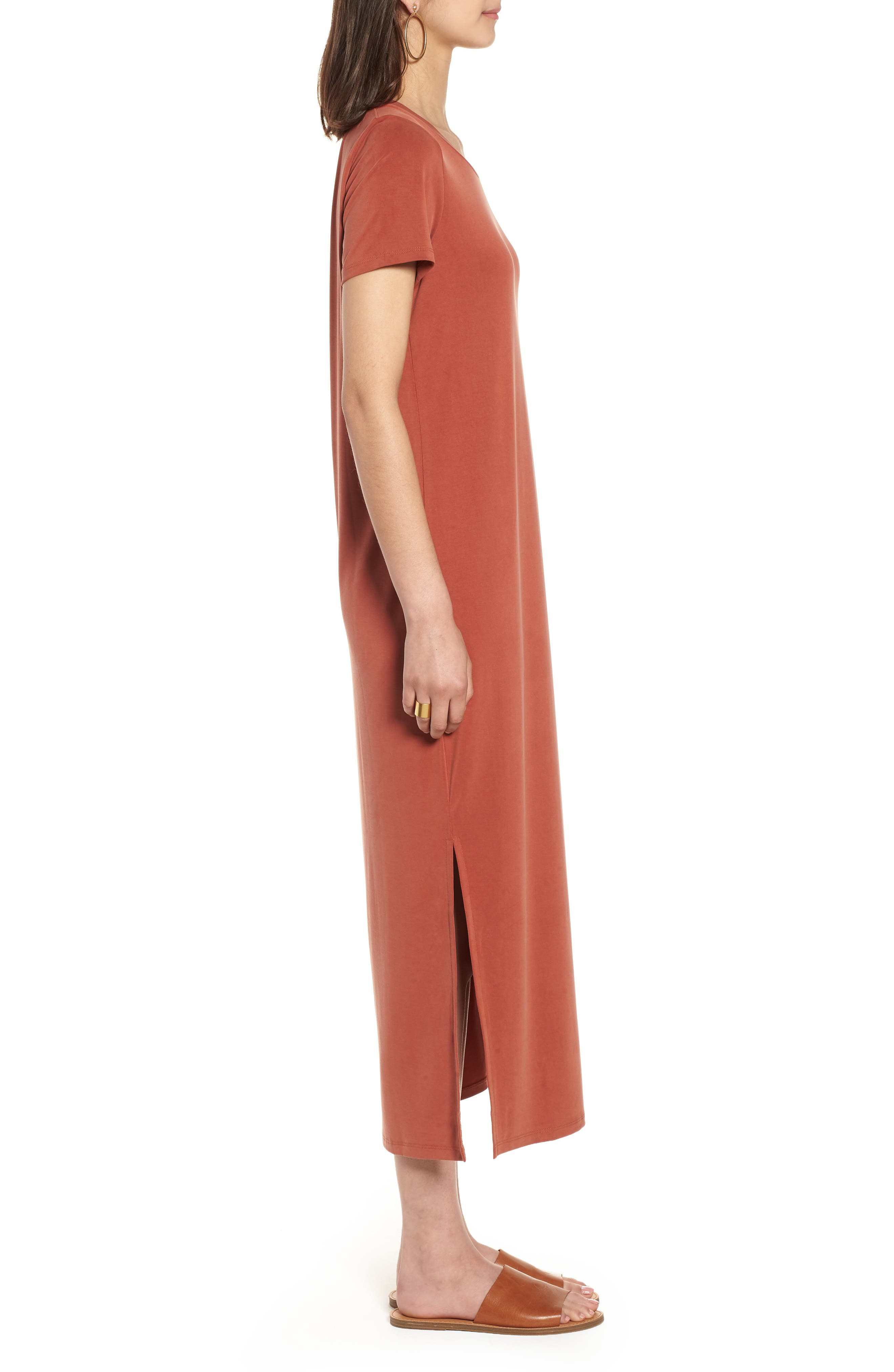 Sandwashed Maxi T-Shirt Dress,                             Alternate thumbnail 3, color,                             Rusty Torch
