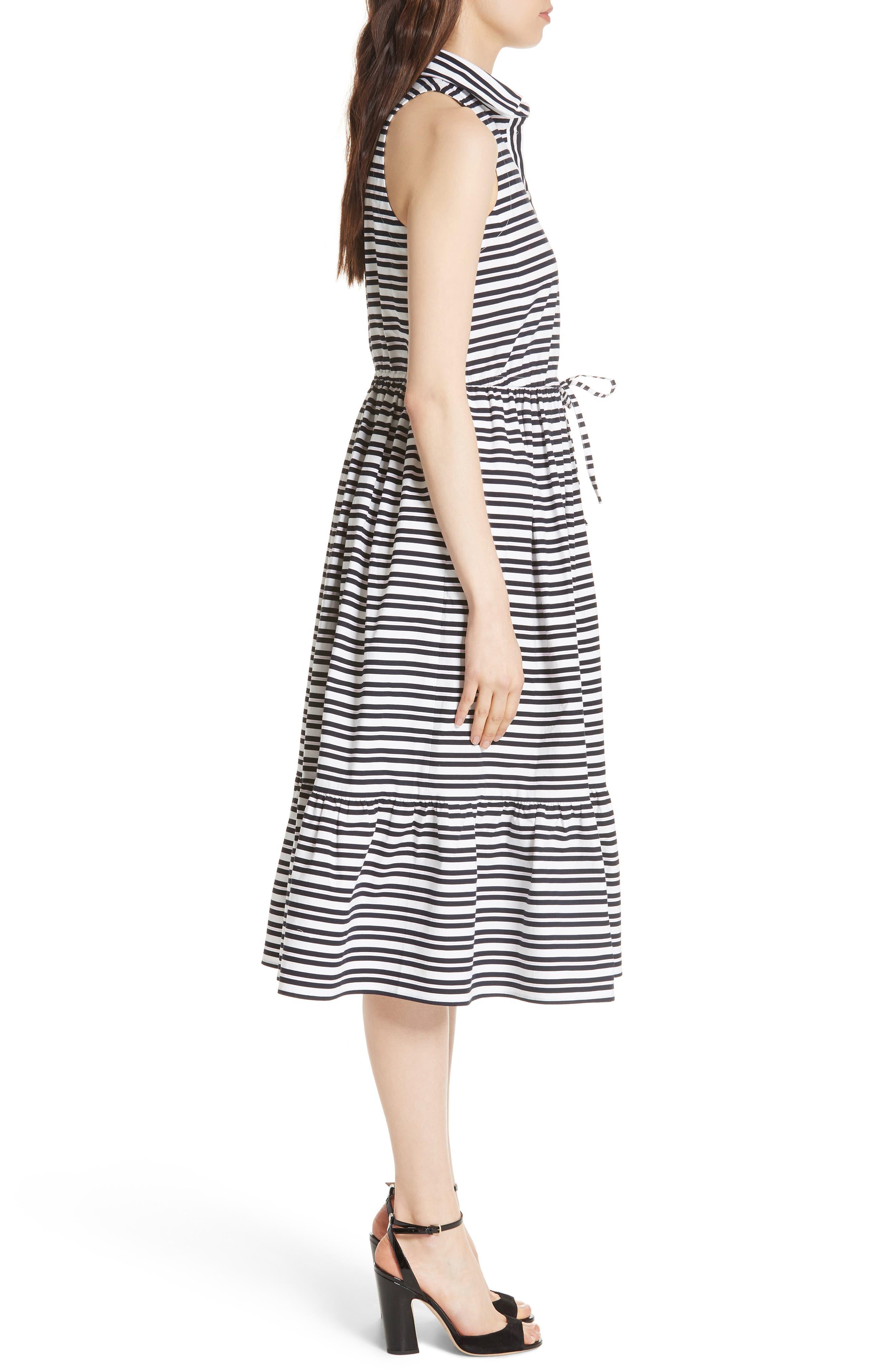 candy stripe stretch cotton shirtdress,                             Alternate thumbnail 3, color,                             Rich Navy