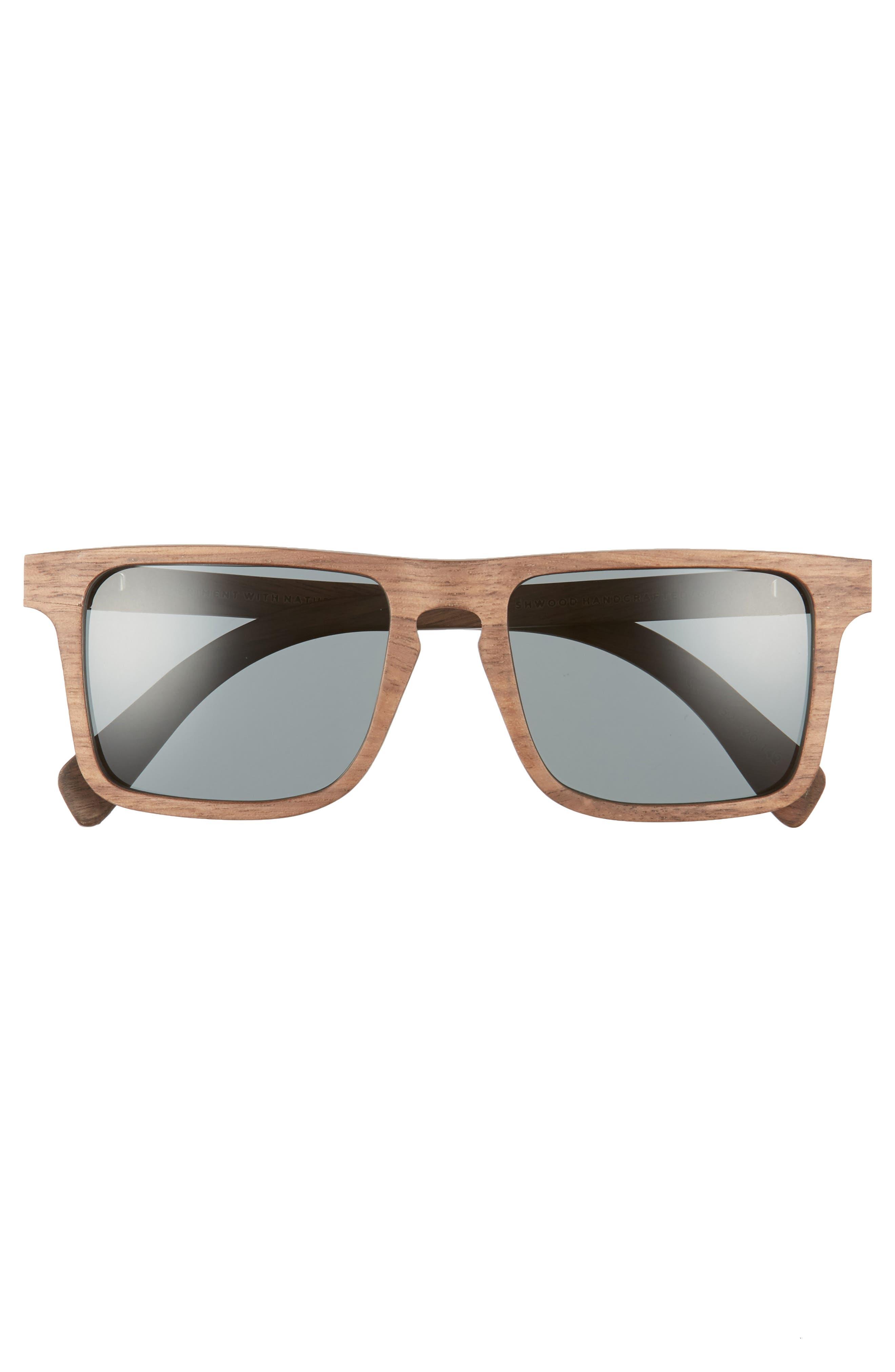 Govy 2 52mm Polarized Wood Sunglasses,                             Alternate thumbnail 2, color,                             Walnut/ Grey