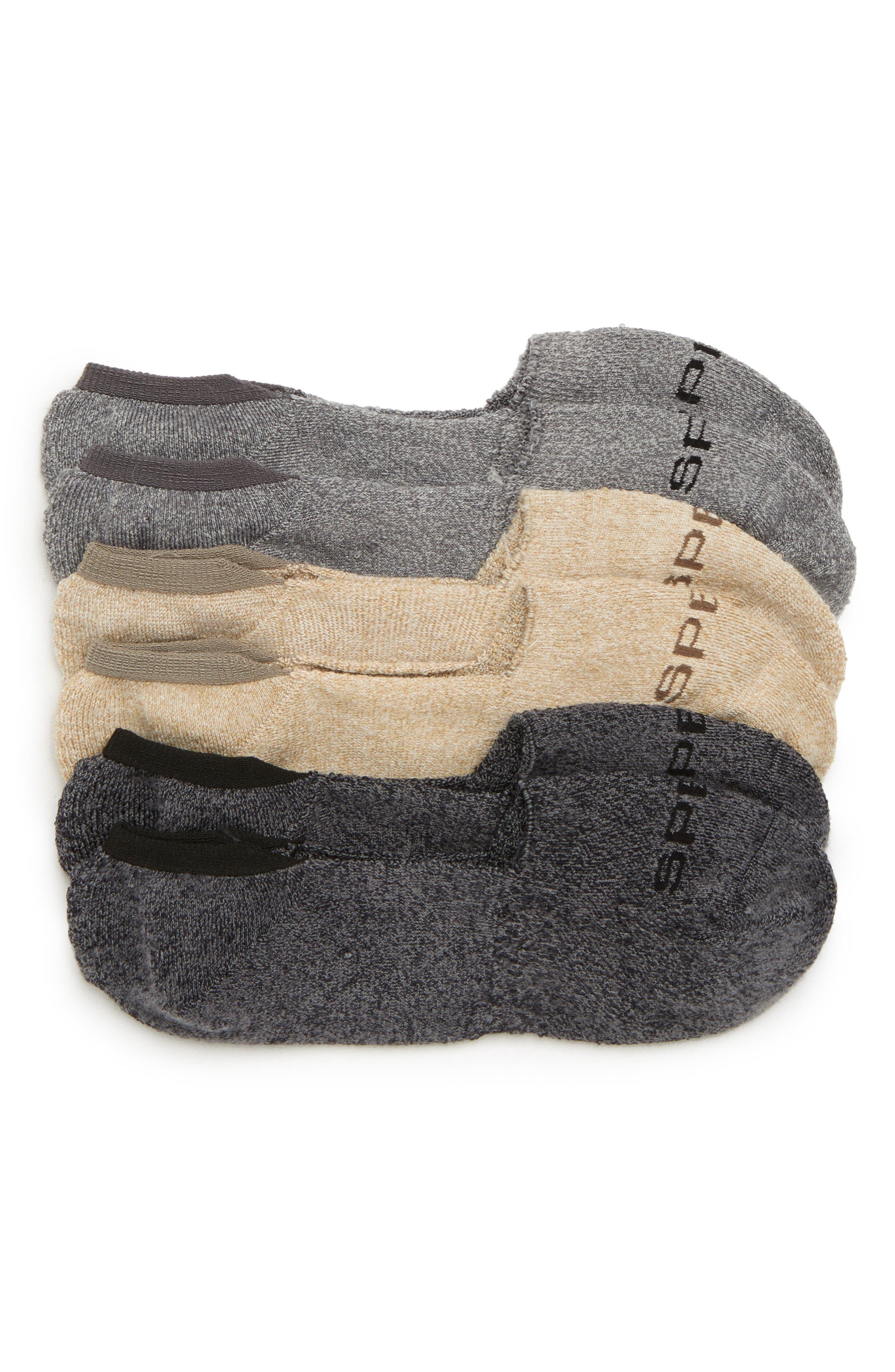 Top-Sider 3-Pack Microfiber Liner Socks,                         Main,                         color, Grey Marl