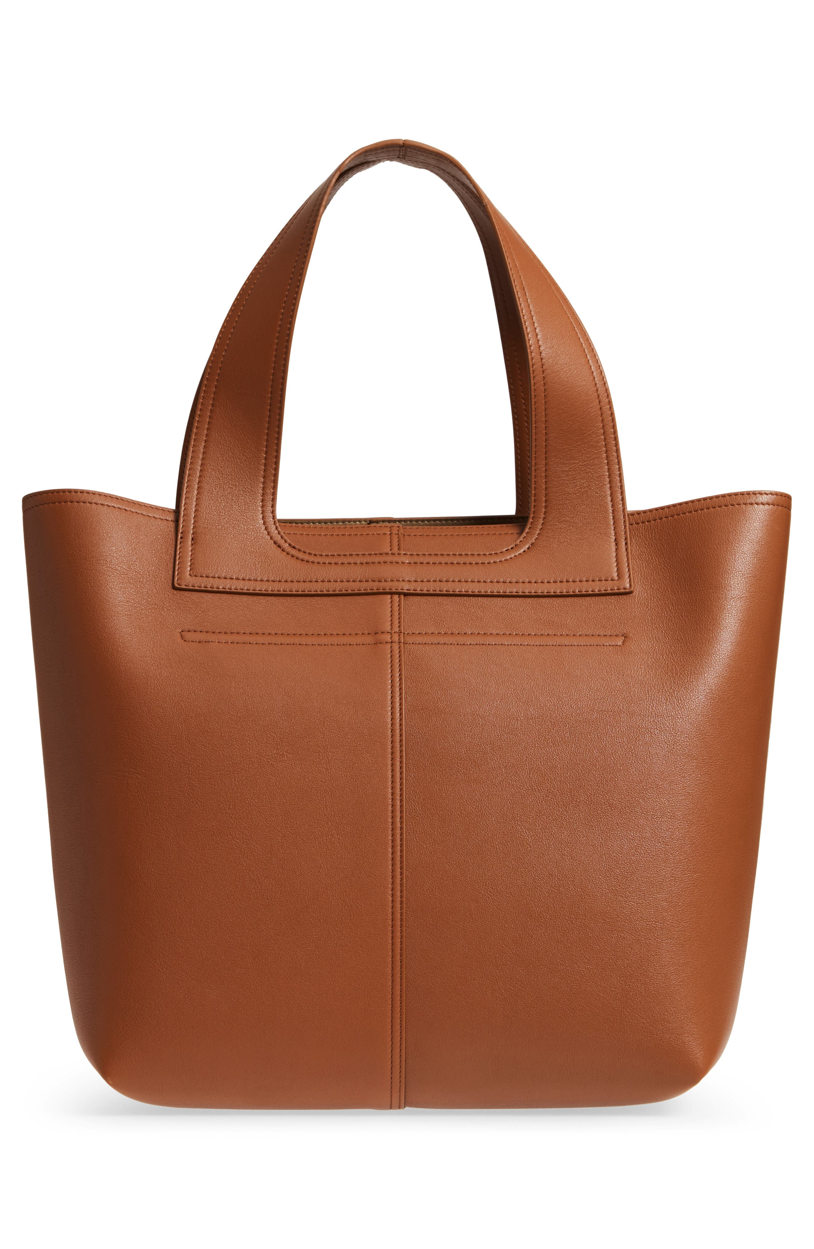 Apron Leather Tote,                             Alternate thumbnail 3, color,                             Cuoio