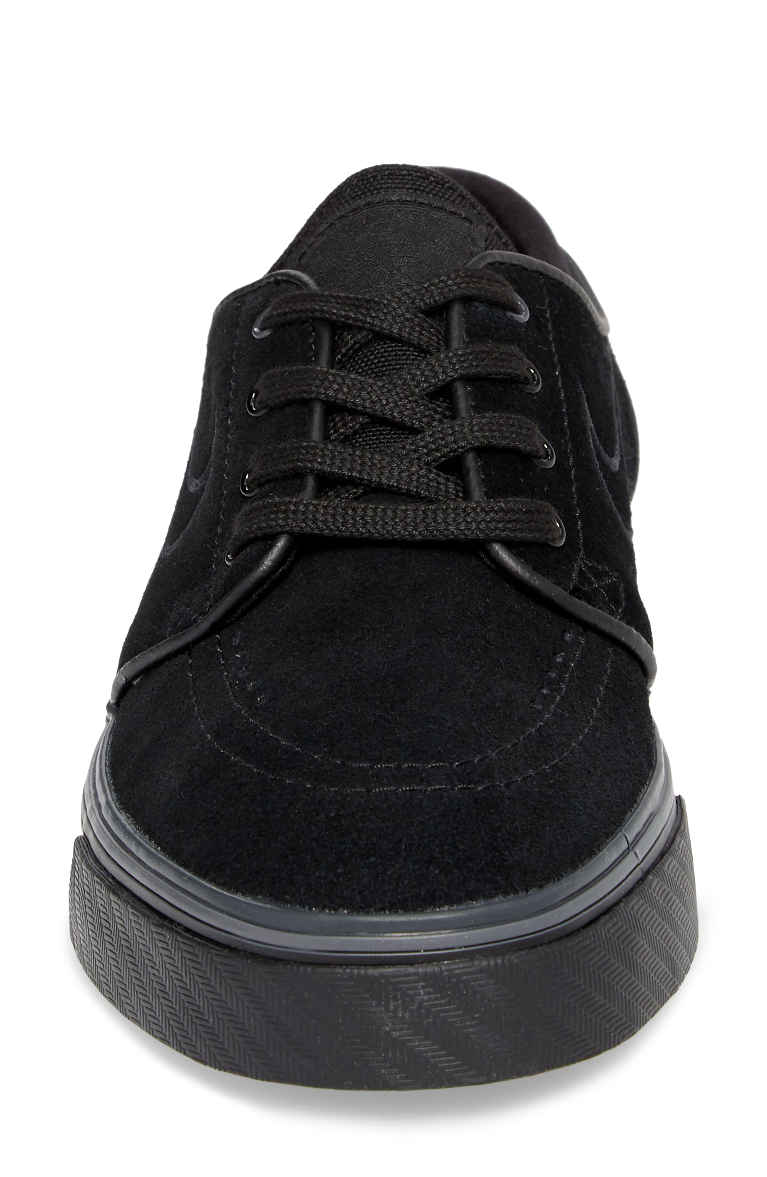 SB Air Zoom Stefan Janoski Skate Sneaker,                             Alternate thumbnail 4, color,                             Black/ Black/ Black